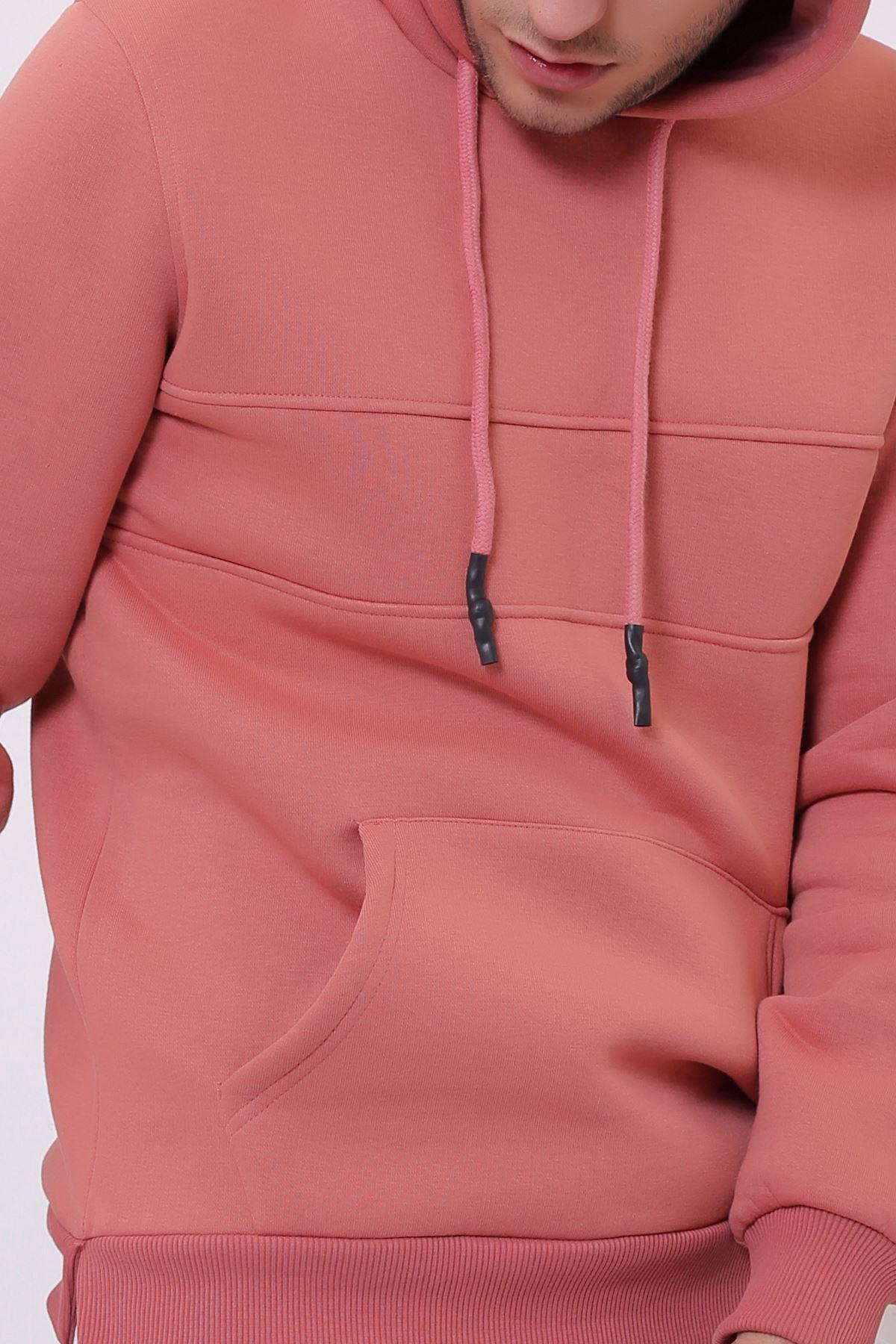 Kiremit Erkek Yırtmaç ve Ek parçalı Kapüşonlu Kanguru Cepli  Sweatshirt