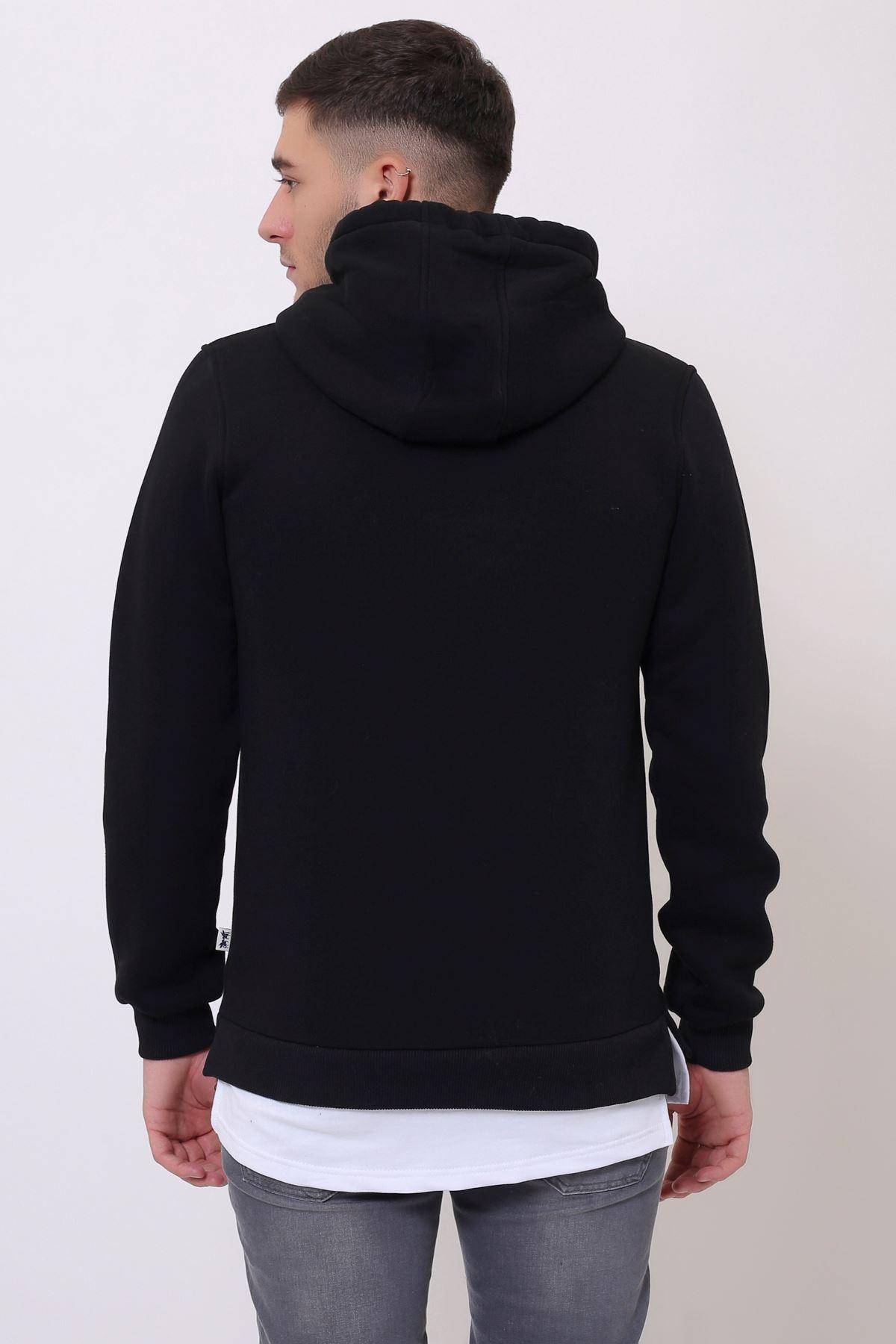 Siyah Erkek Yırtmaç ve Ek parçalı Kapüşonlu Kanguru Cepli  Sweatshirt