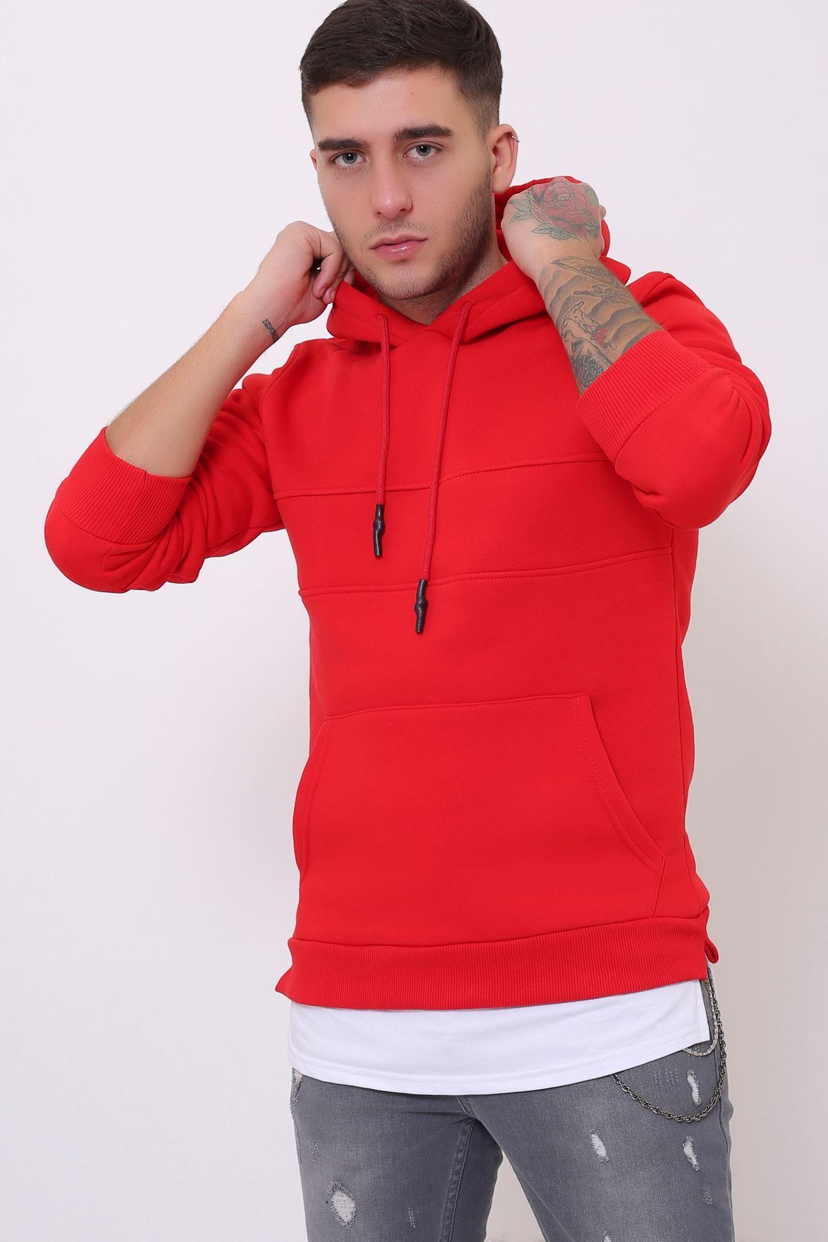 Kırmızı Erkek Yırtmaç ve Ek parçalı Kapüşonlu Kanguru Cepli  Sweatshirt
