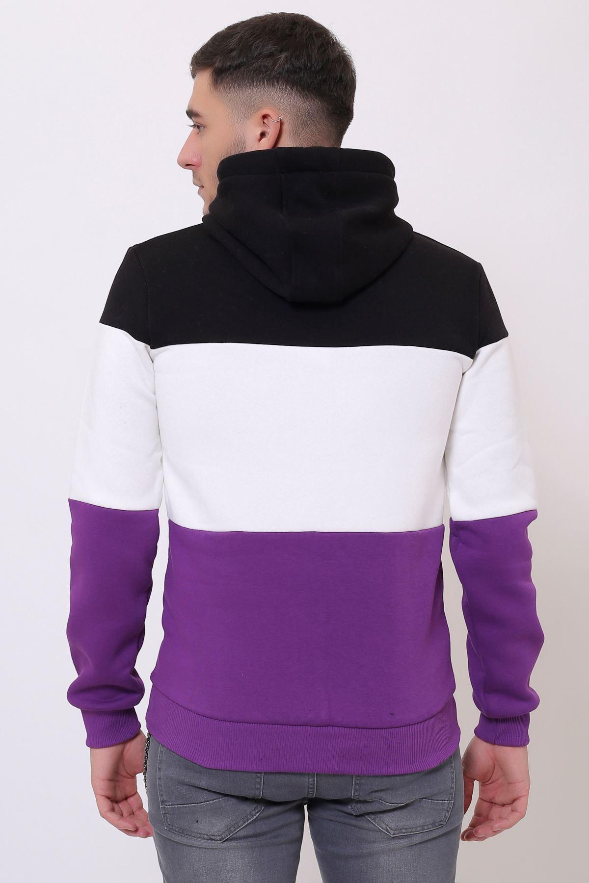 Siyah Erkek Üç Renk Panelli  Kapüşonlu Kanguru Cepli  Sweatshirt
