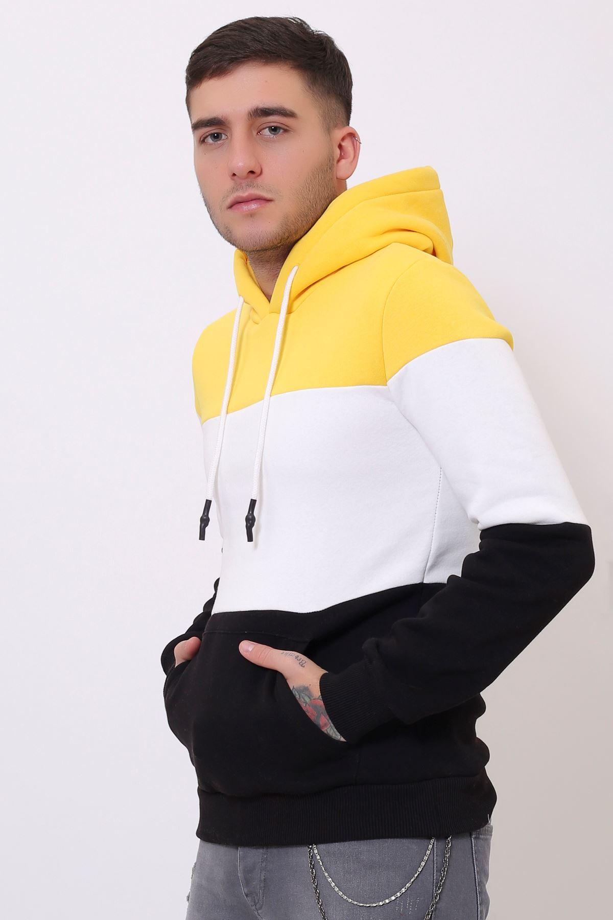 Sarı Erkek Üç Renk Panelli  Kapüşonlu Kanguru Cepli  Sweatshirt