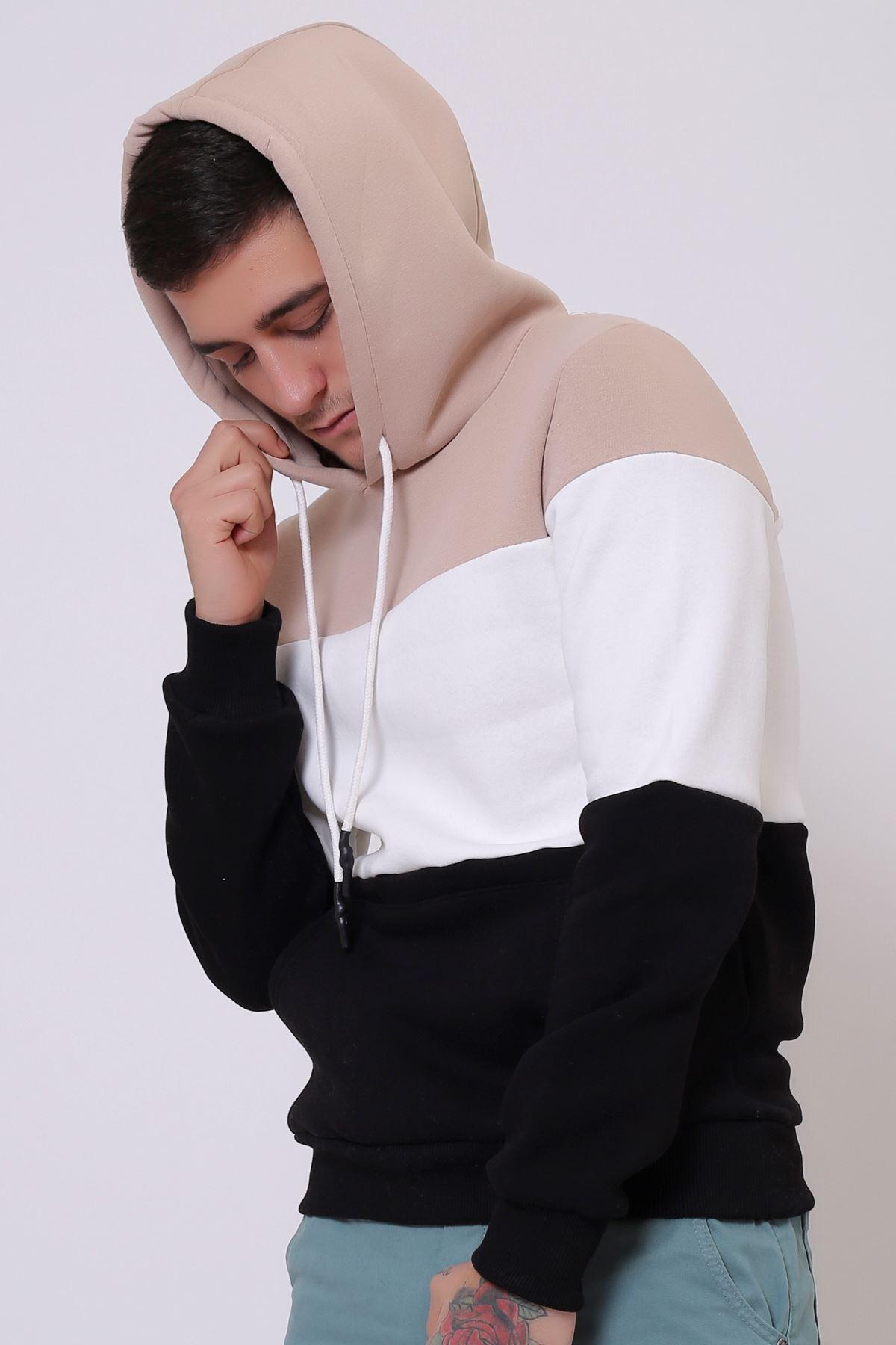 Beyaz Erkek Üç Renk Panelli  Kapüşonlu Kanguru Cepli  Sweatshirt