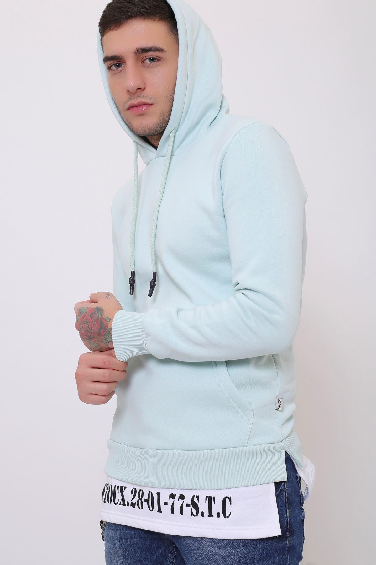 Aqua Erkek Yırtmaç Baskılı Kapüşonlu Kanguru Cepli  Sweatshirt