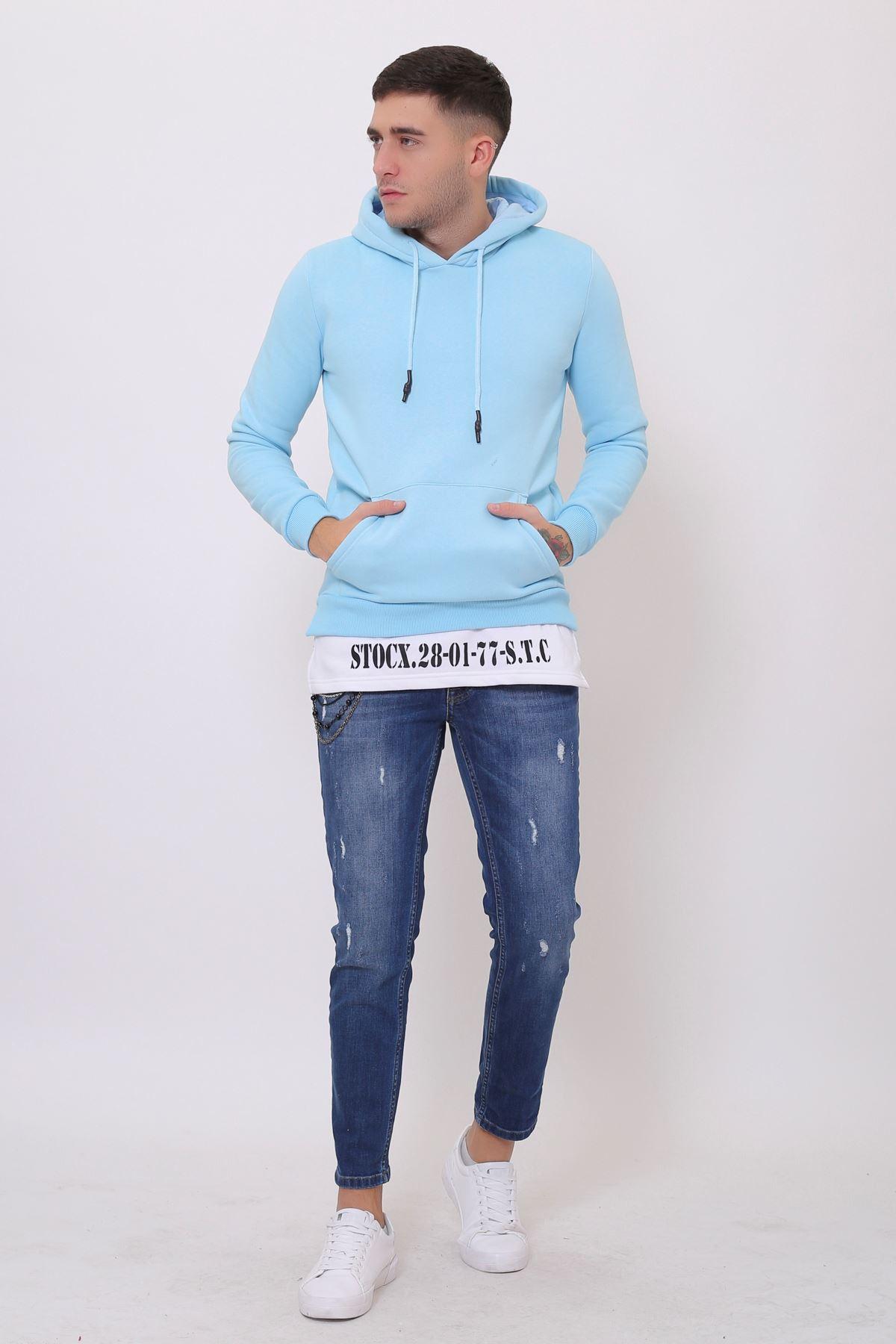 Mavi Erkek Yırtmaç Baskılı Kapüşonlu Kanguru Cepli  Sweatshirt