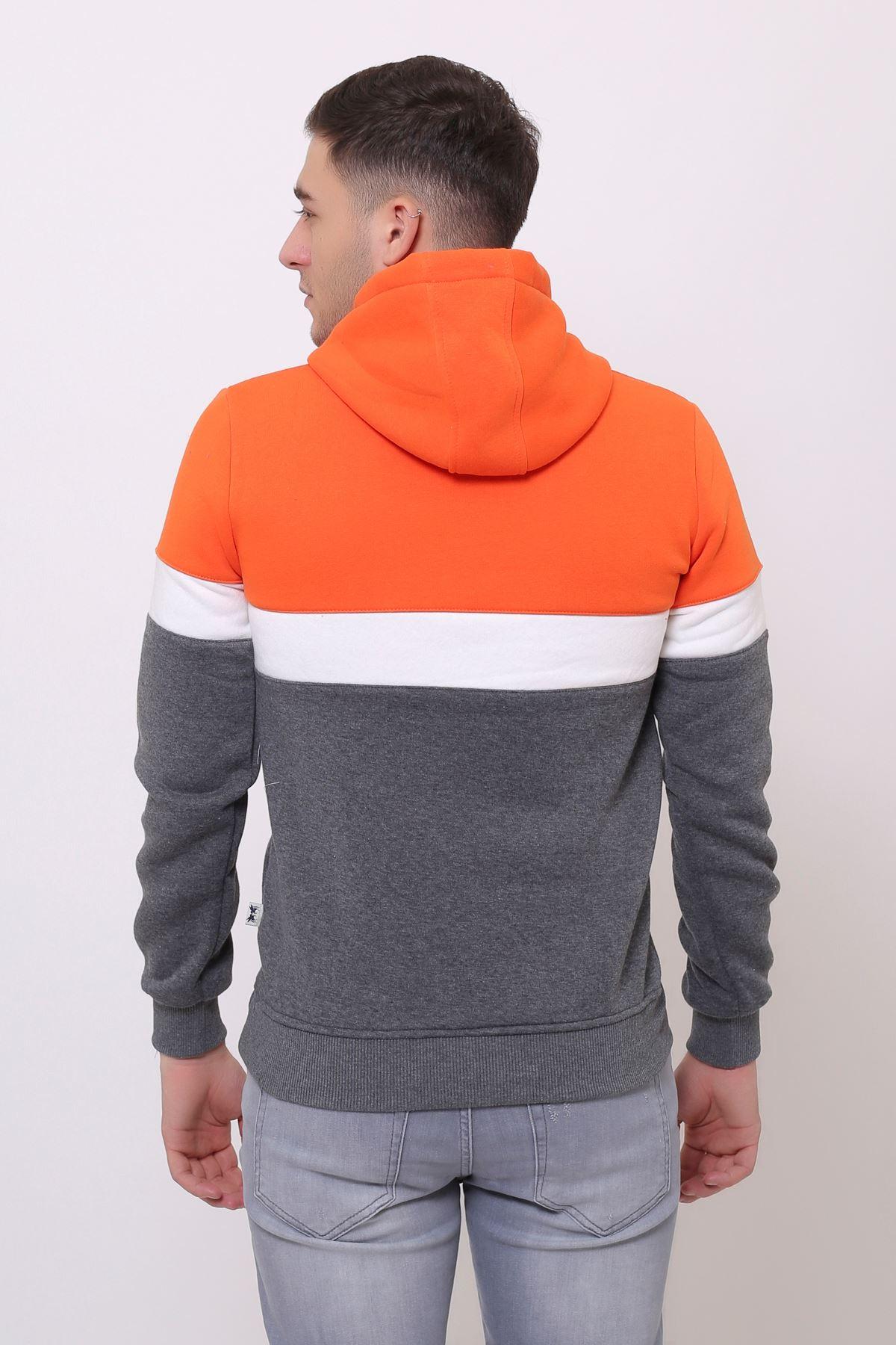 Gri Erkek Baskılı Panelli  Kapüşonlu Kanguru Cepli  Sweatshirt
