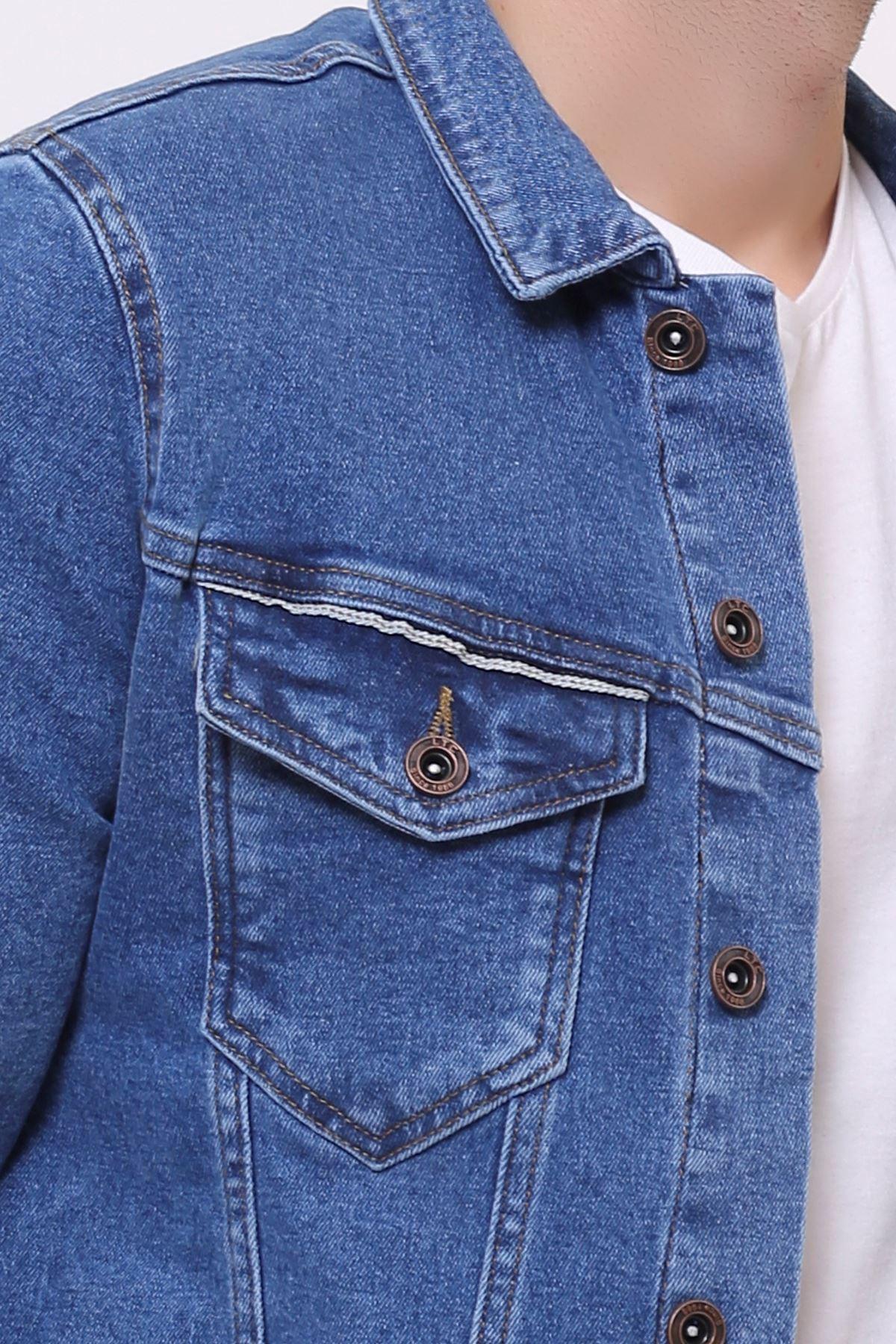Çift Cep Şerit Detay Buz Mavi Erkek Kot Ceket