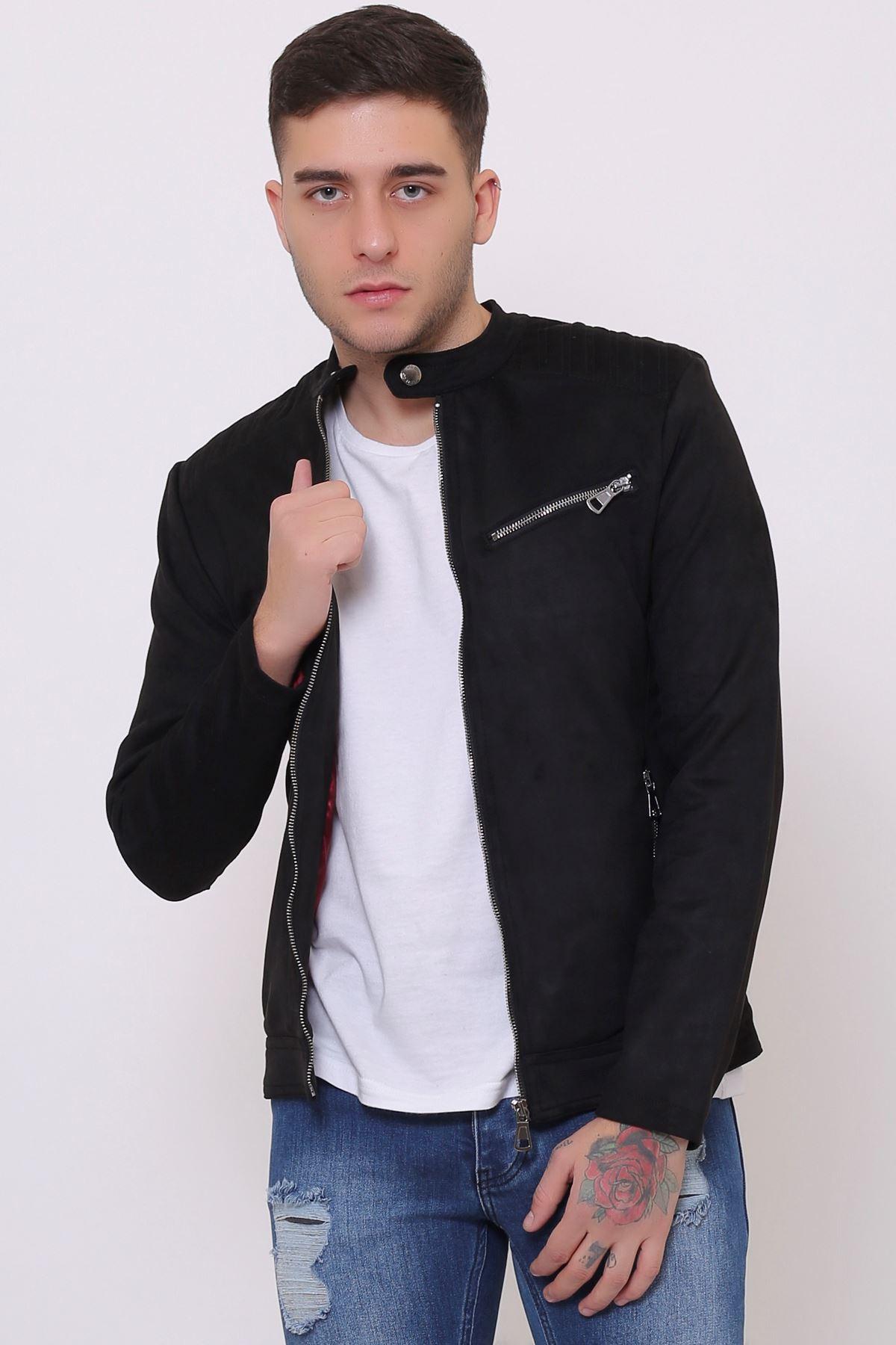 Fermuar Detay Siyah Süet Erkek Ceket