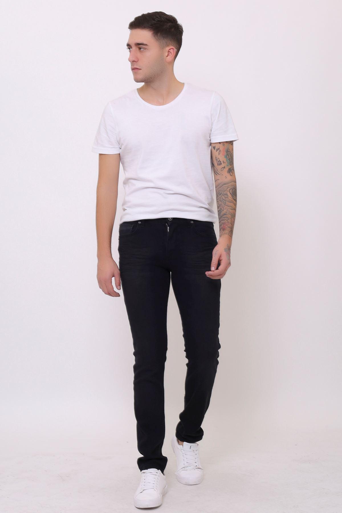 Yeni Armürlü Rodeo Fermuarlı Slim Fit Siyah Erkek Pantolon