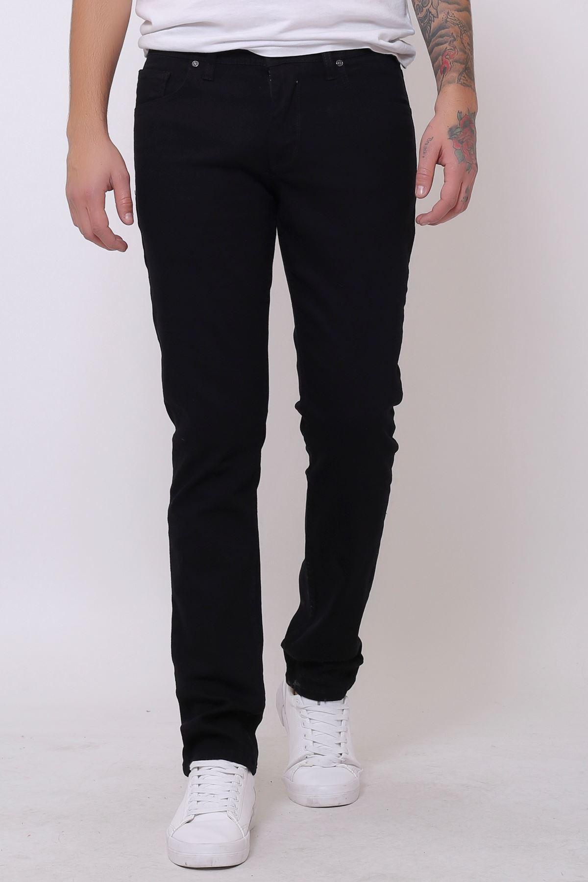 Yeni Siyah Slim Fit Fermuarlı Erkek Jeans Pantolon