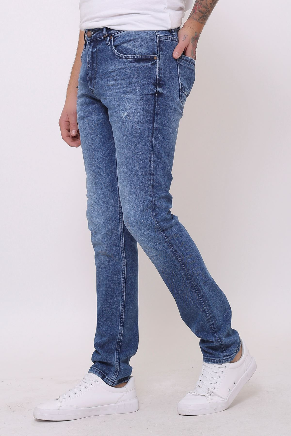 Yeni Mavi Slim Fit Fermuarlı Erkek Jeans Pantolon
