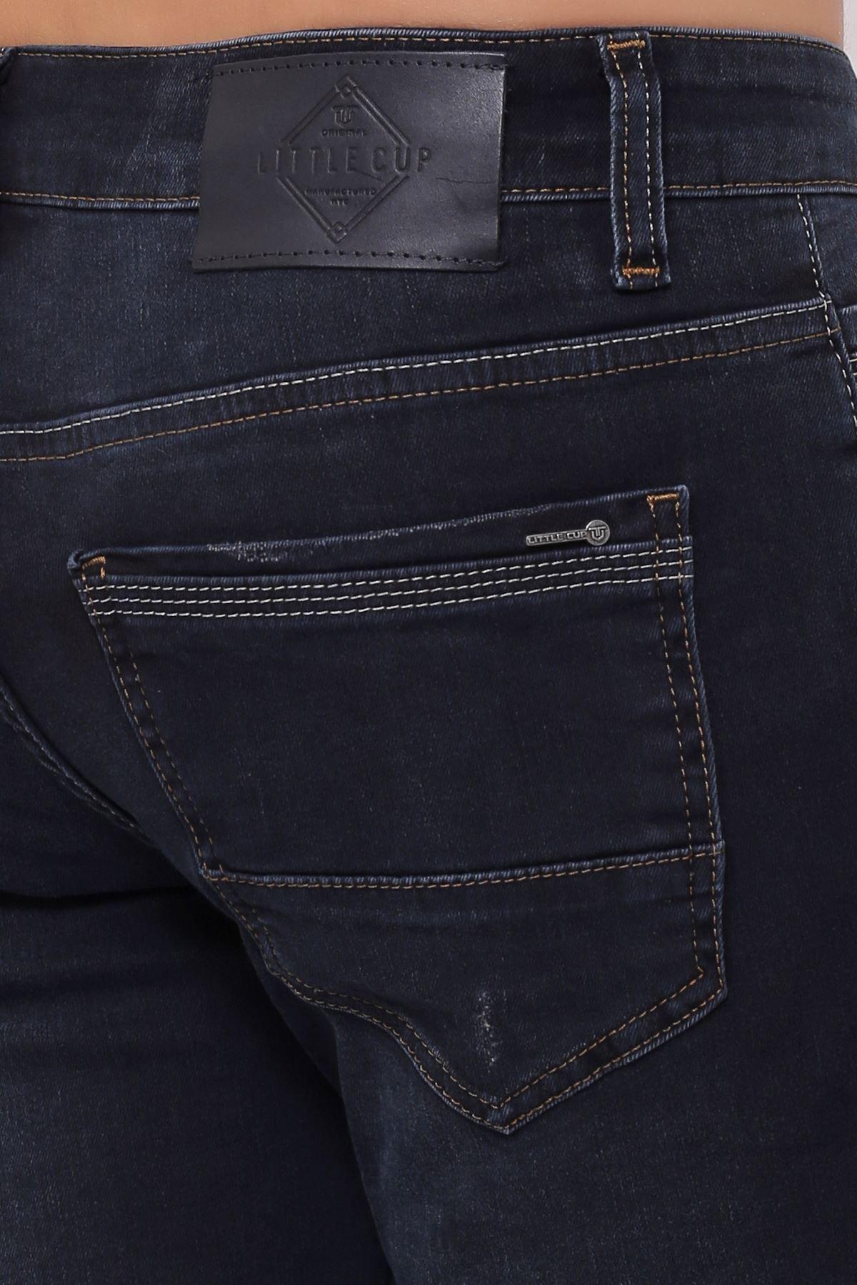 Yeni Blue Black Slim Fit Fermuarlı Erkek Jeans Pantolon