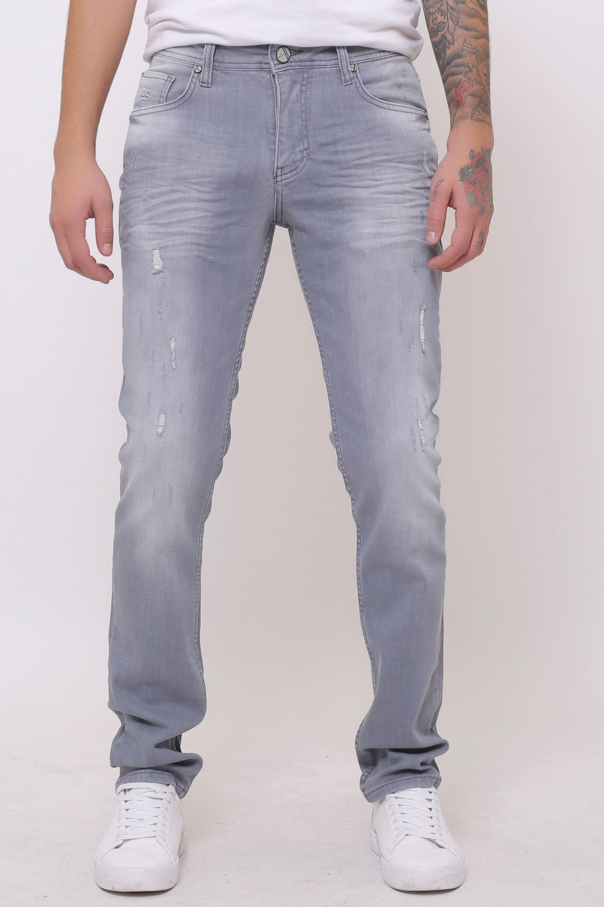 Yeni Koyu Gri Slim Fit Fermuarlı Erkek Jeans Pantolon