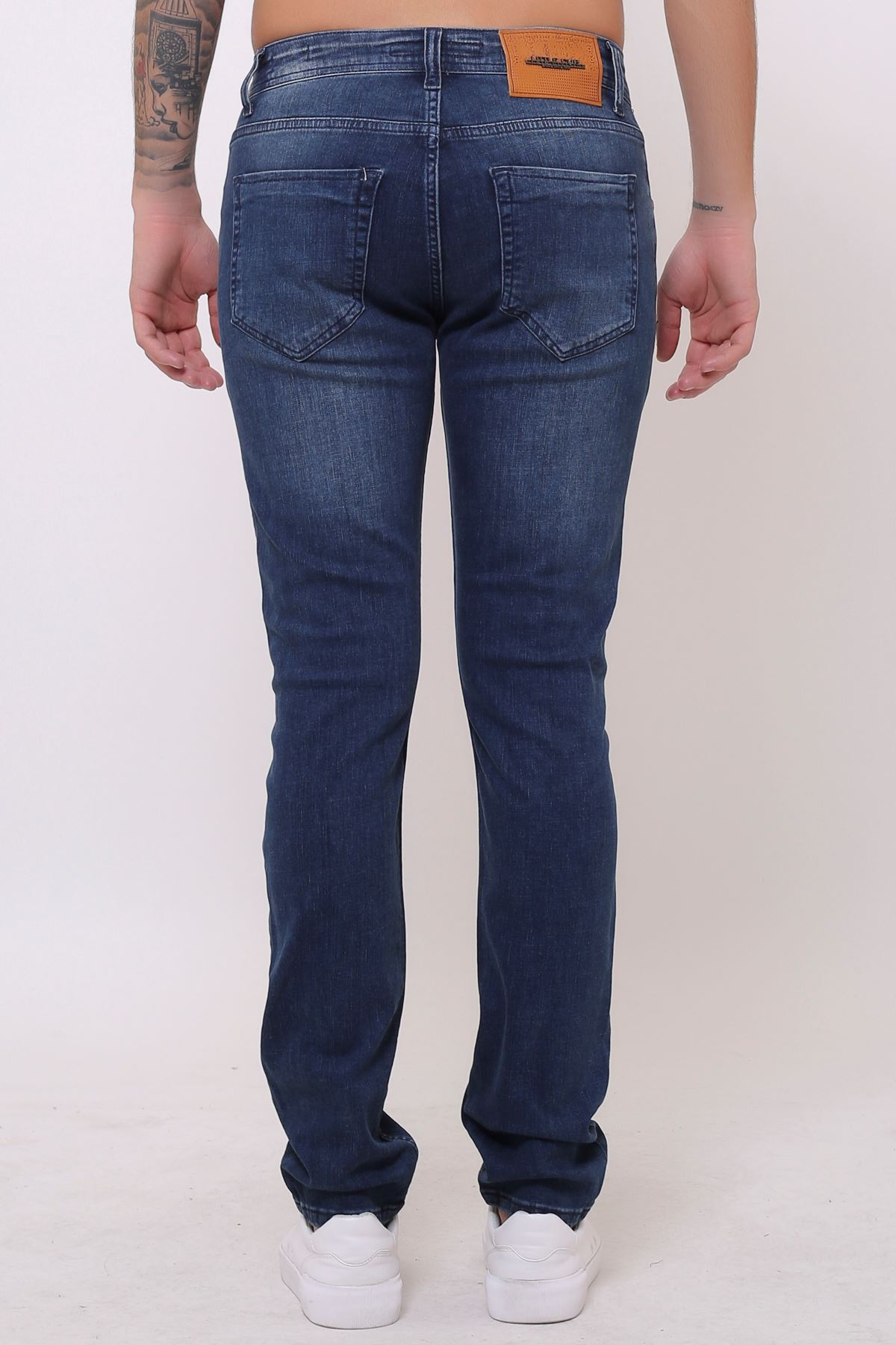Yeni Mavi Tint  Slim Fit Fermuarlı Erkek Jeans Pantolon