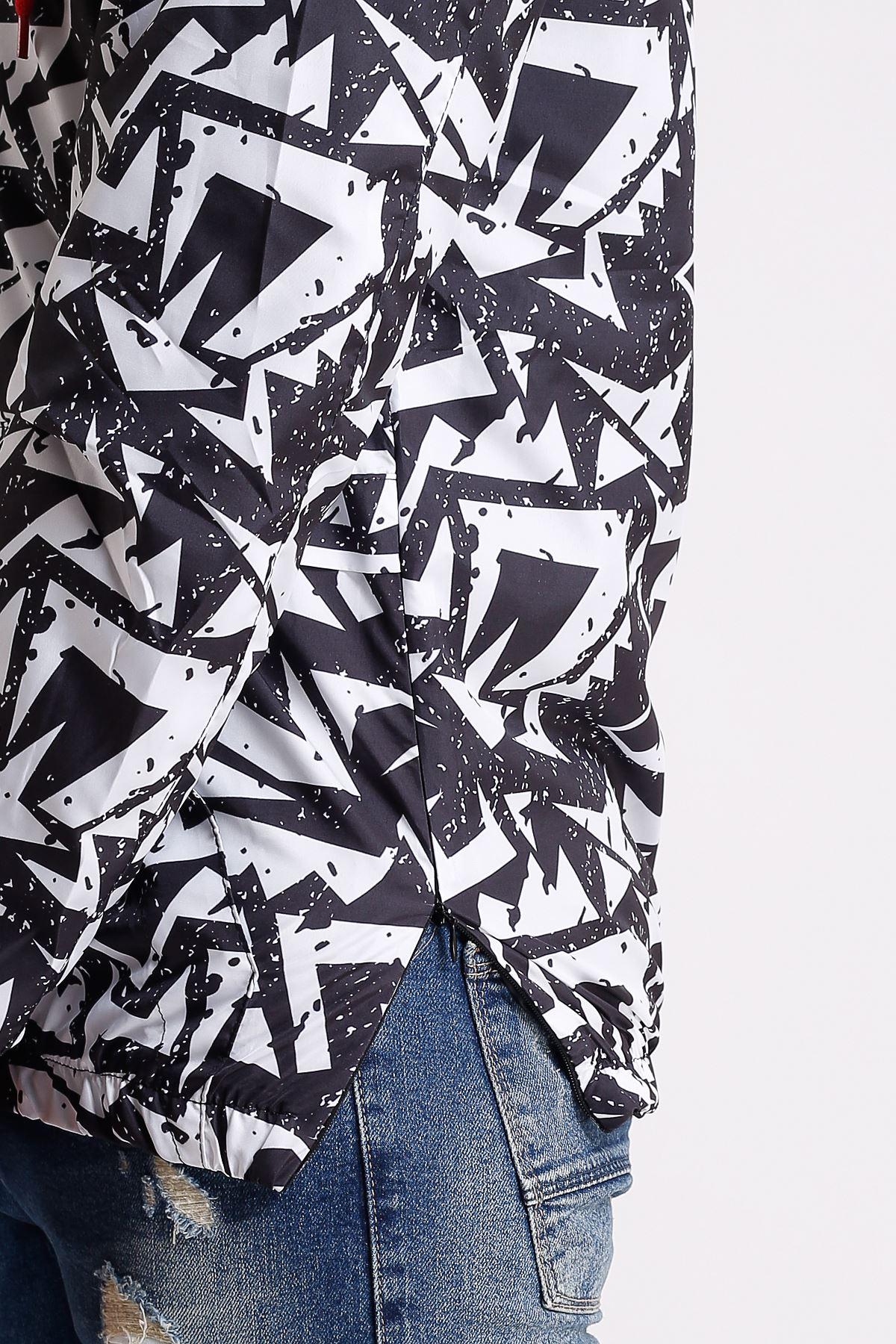 Erkek Kapüşonlu Geometrik Desen Kanguru Cepli Su geçirmez Siyah Yağmurluk