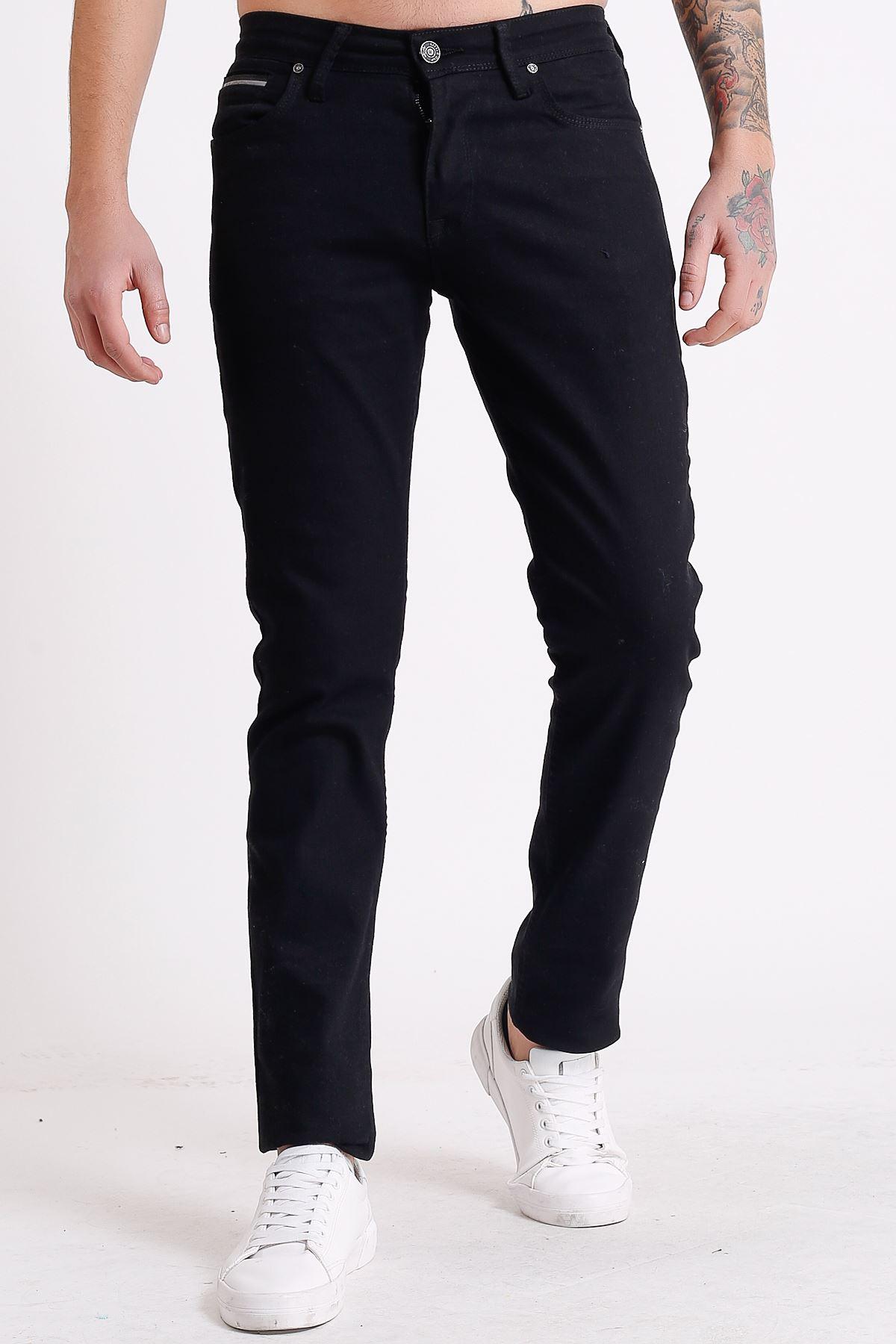 Reflektör Şerit Cepli Siyah Slim Fit Fermuarlı Erkek Jeans Pantolon