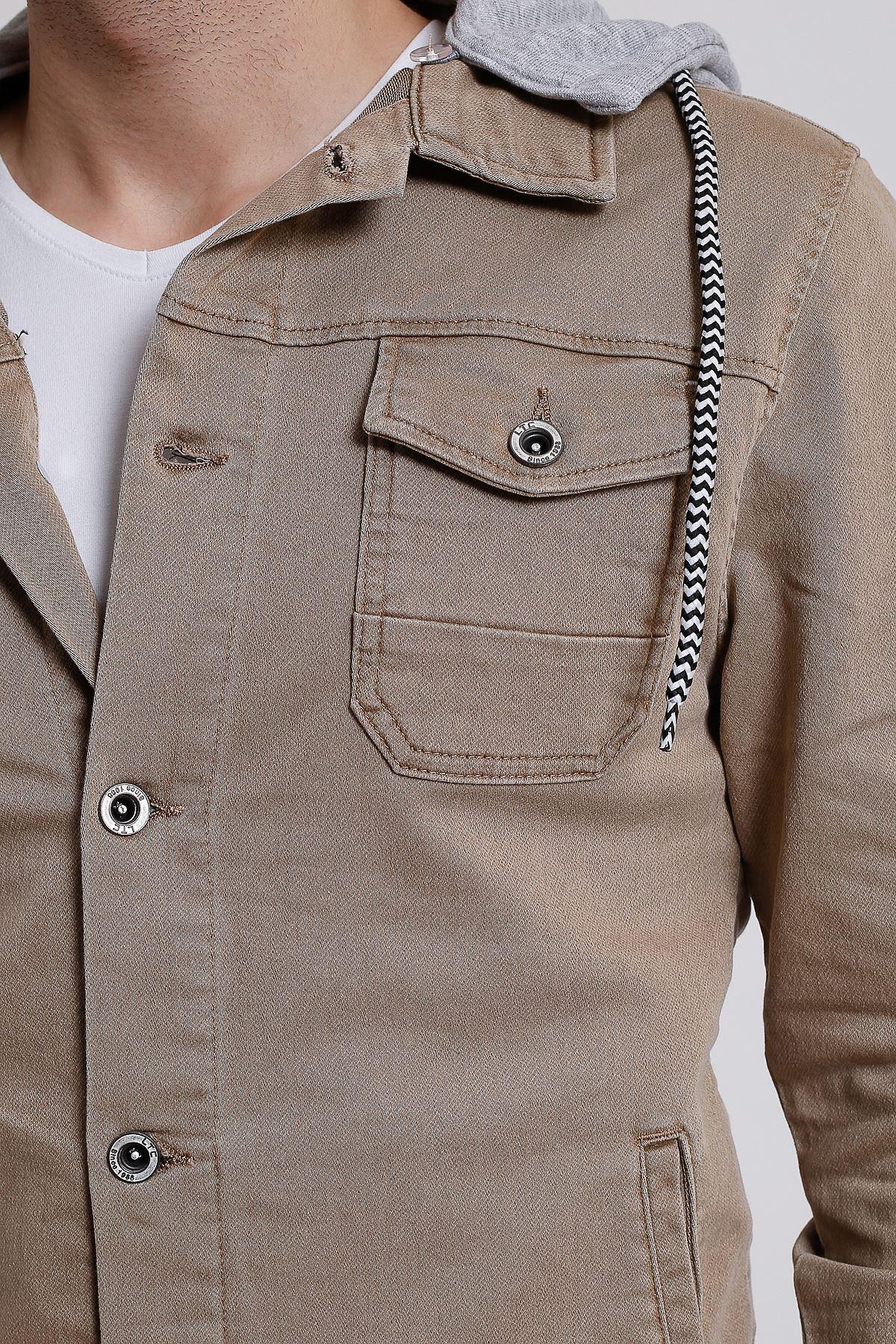 Erkek Çıkarılabilir Kapüşonlu Yıkamalı Bej Kot Ceket