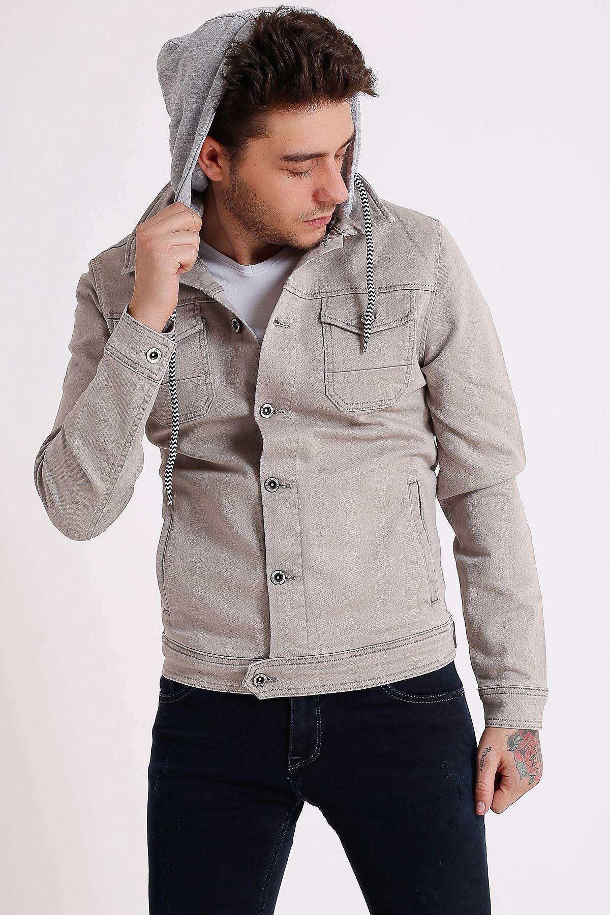 Erkek Çıkarılabilir Kapüşonlu Yıkamalı Taş Kot Ceket