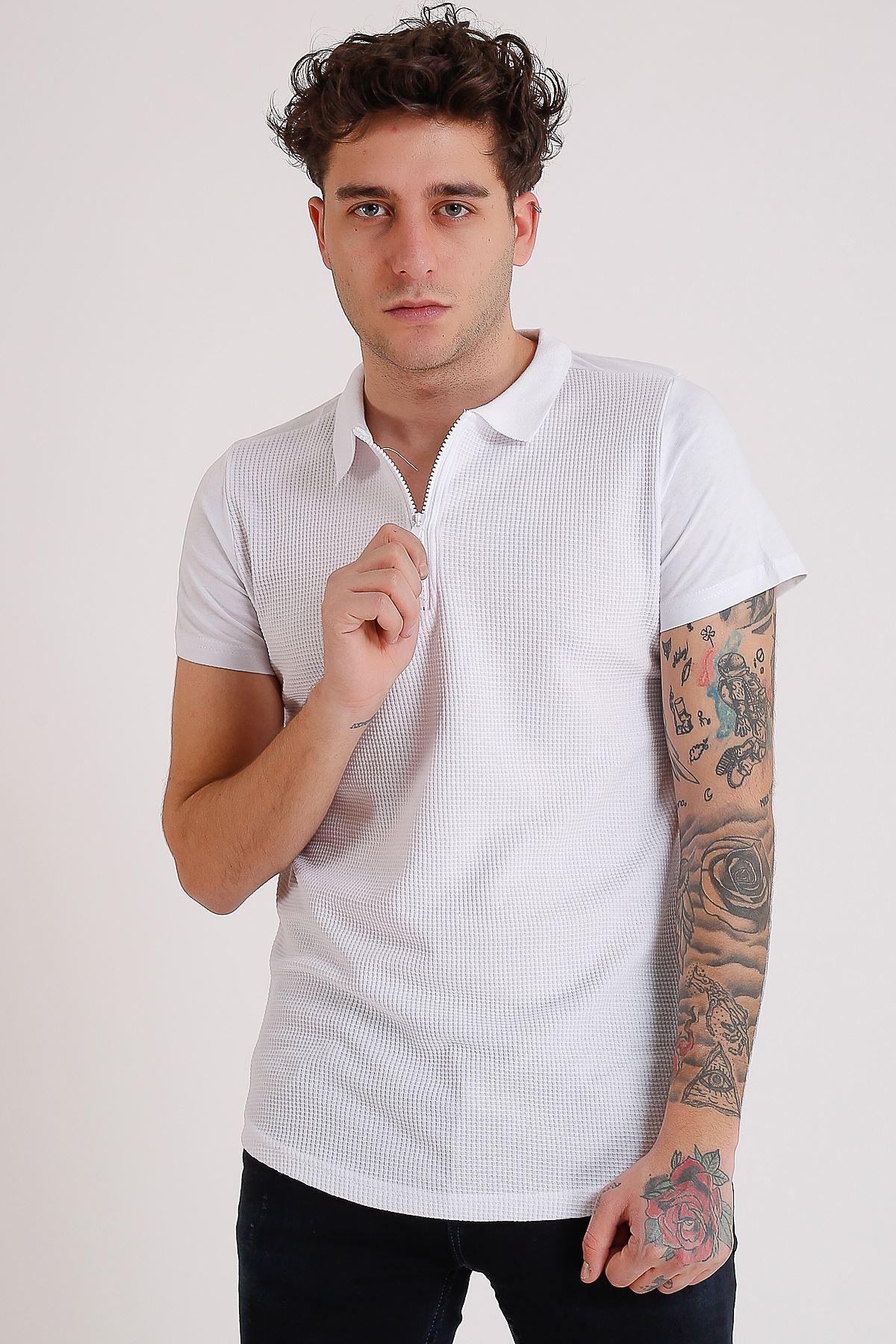 Erkek Polo Yaka Beyaz Fermuarlı T-Shirt
