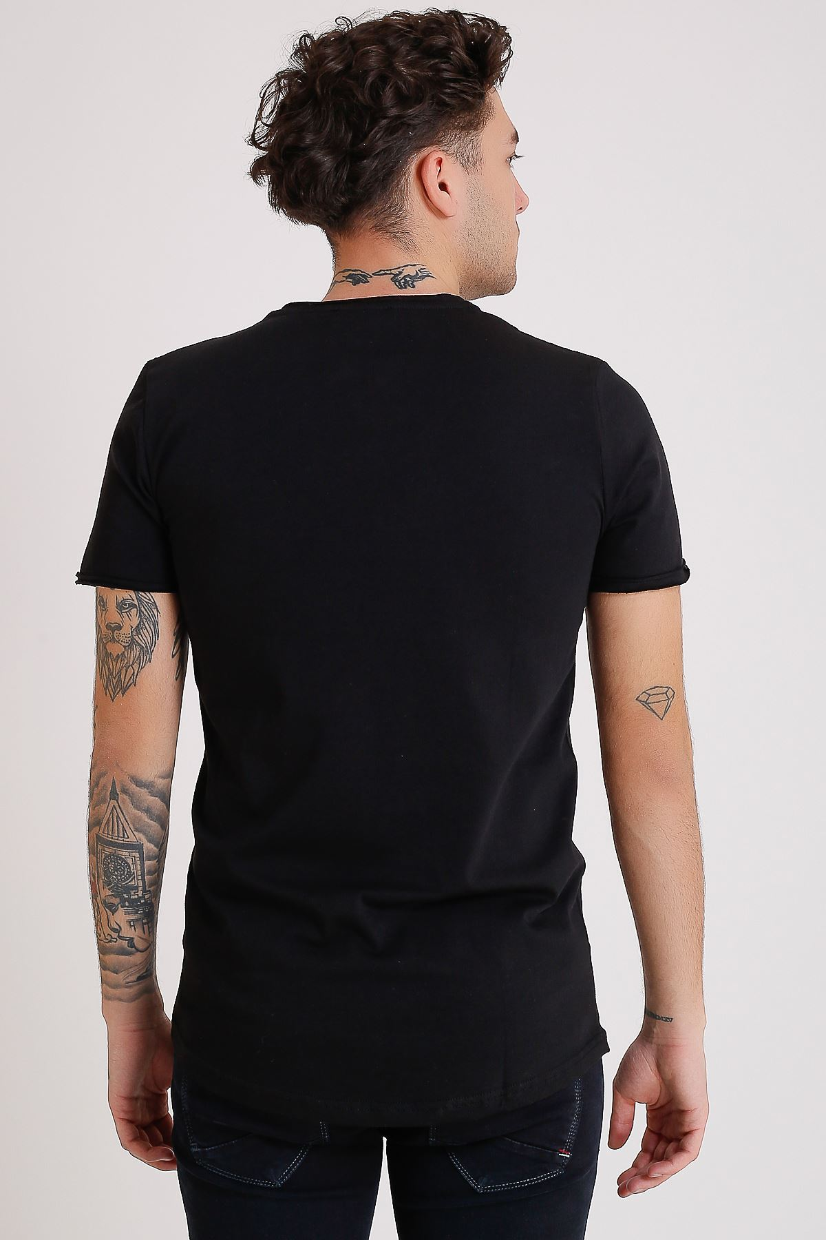 Bisiklet Yaka Cepli Siyah Erkek Penye T-Shirt