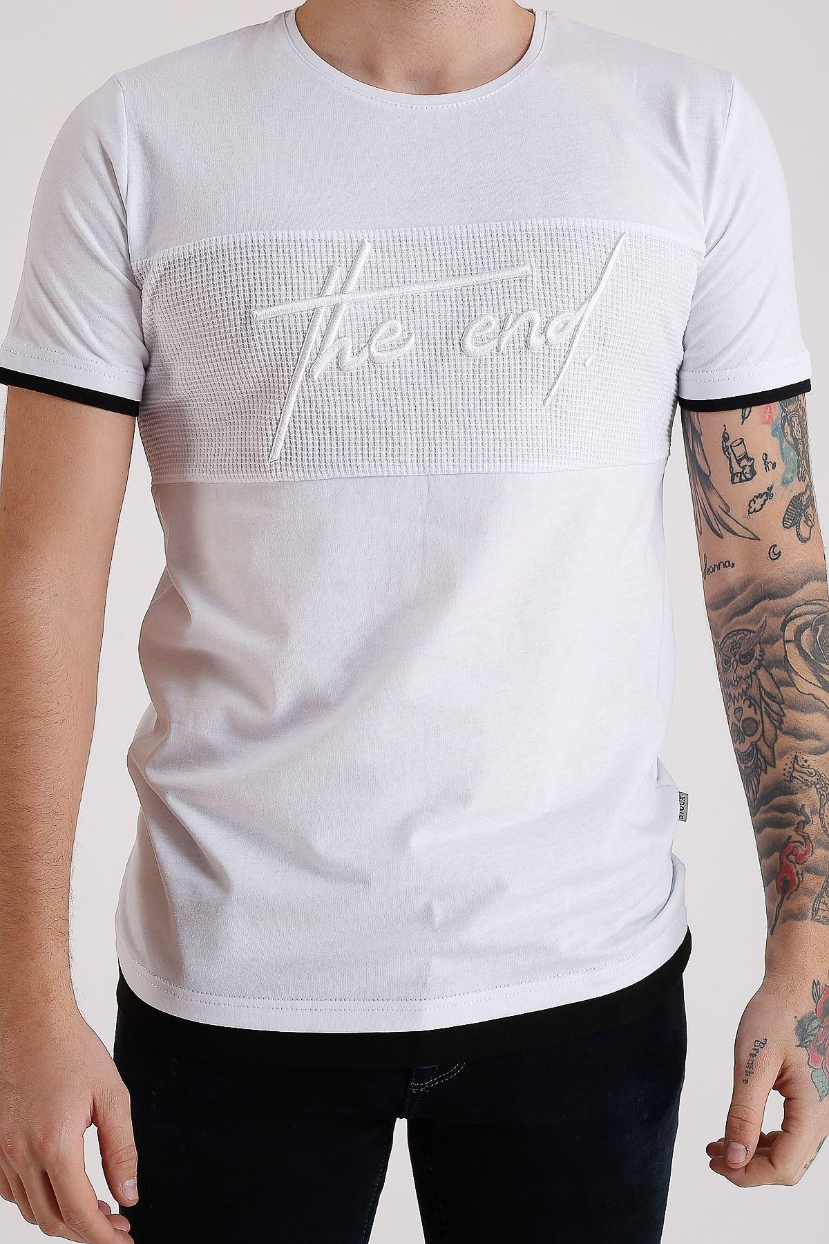 Bisiklet Yaka Nakışlı Beyaz Erkek Penye T-Shirt