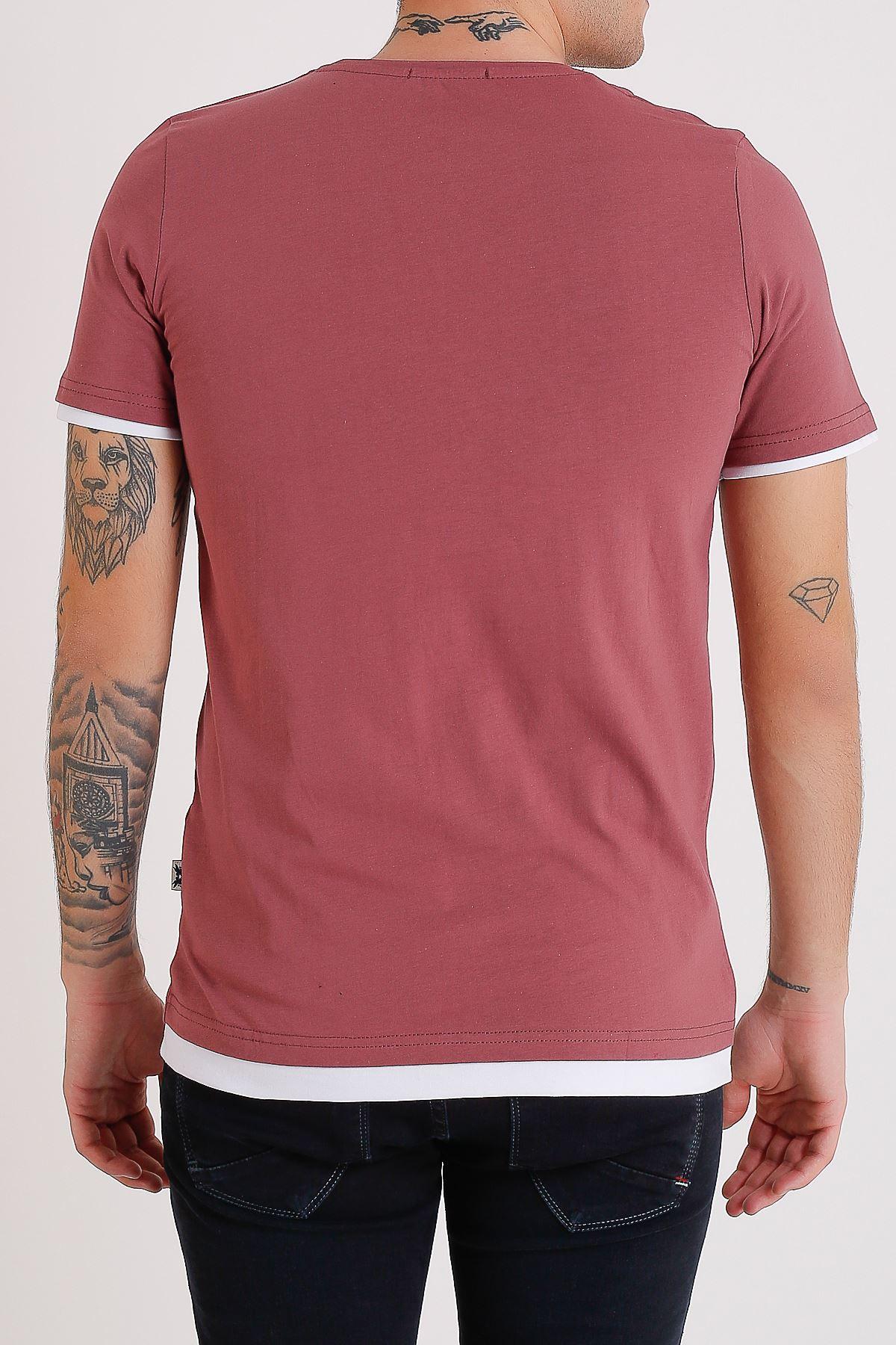 Bisiklet Yaka Nakışlı Vişne Ç. Erkek Penye T-Shirt