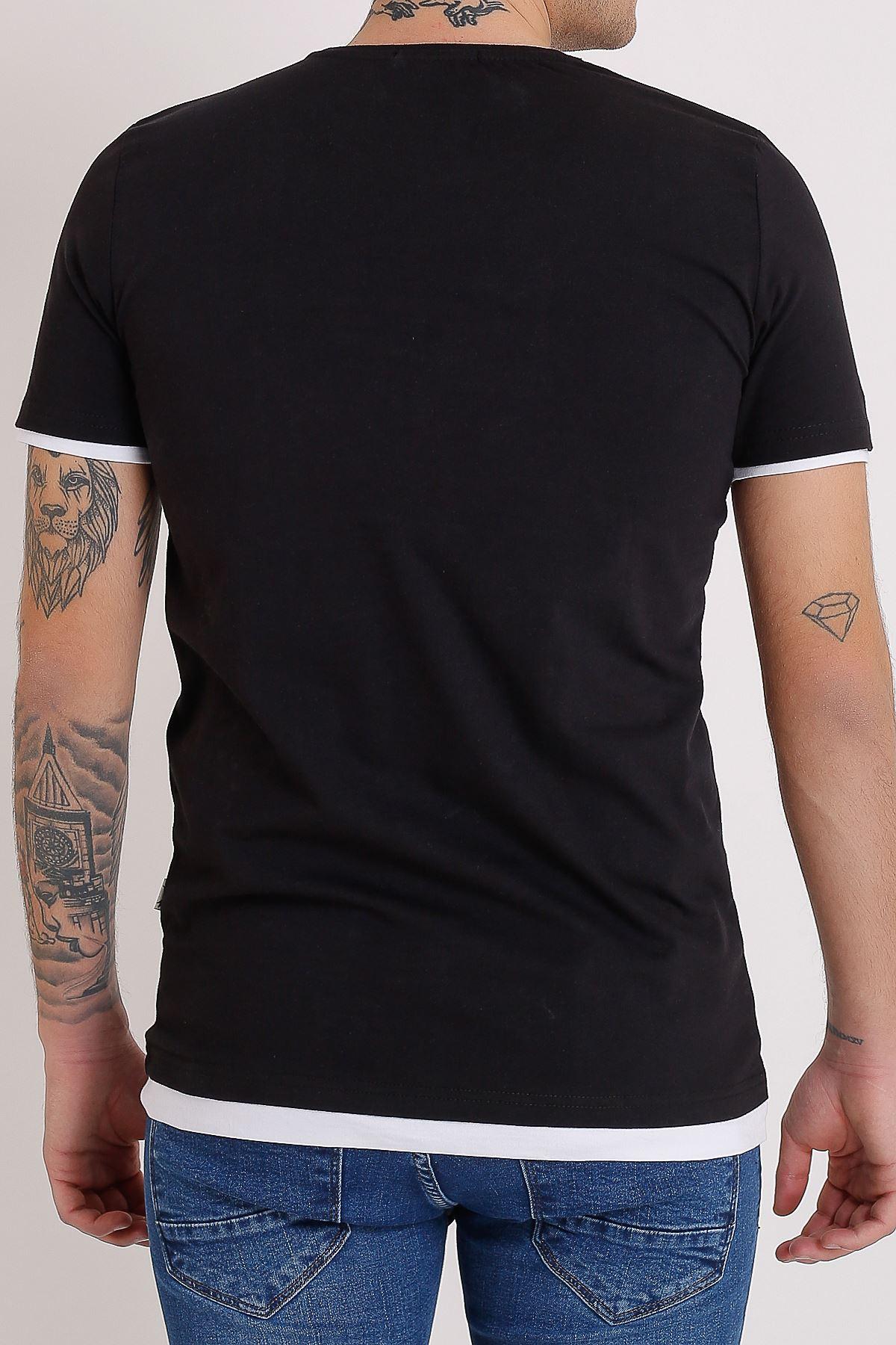 Bisiklet Yaka Nakışlı Siyah Erkek Penye T-Shirt