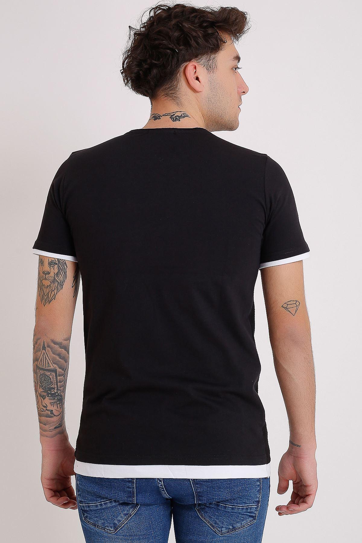 Bisiklet Yaka Baskılı Model Detay Siyah Erkek T-Shirt