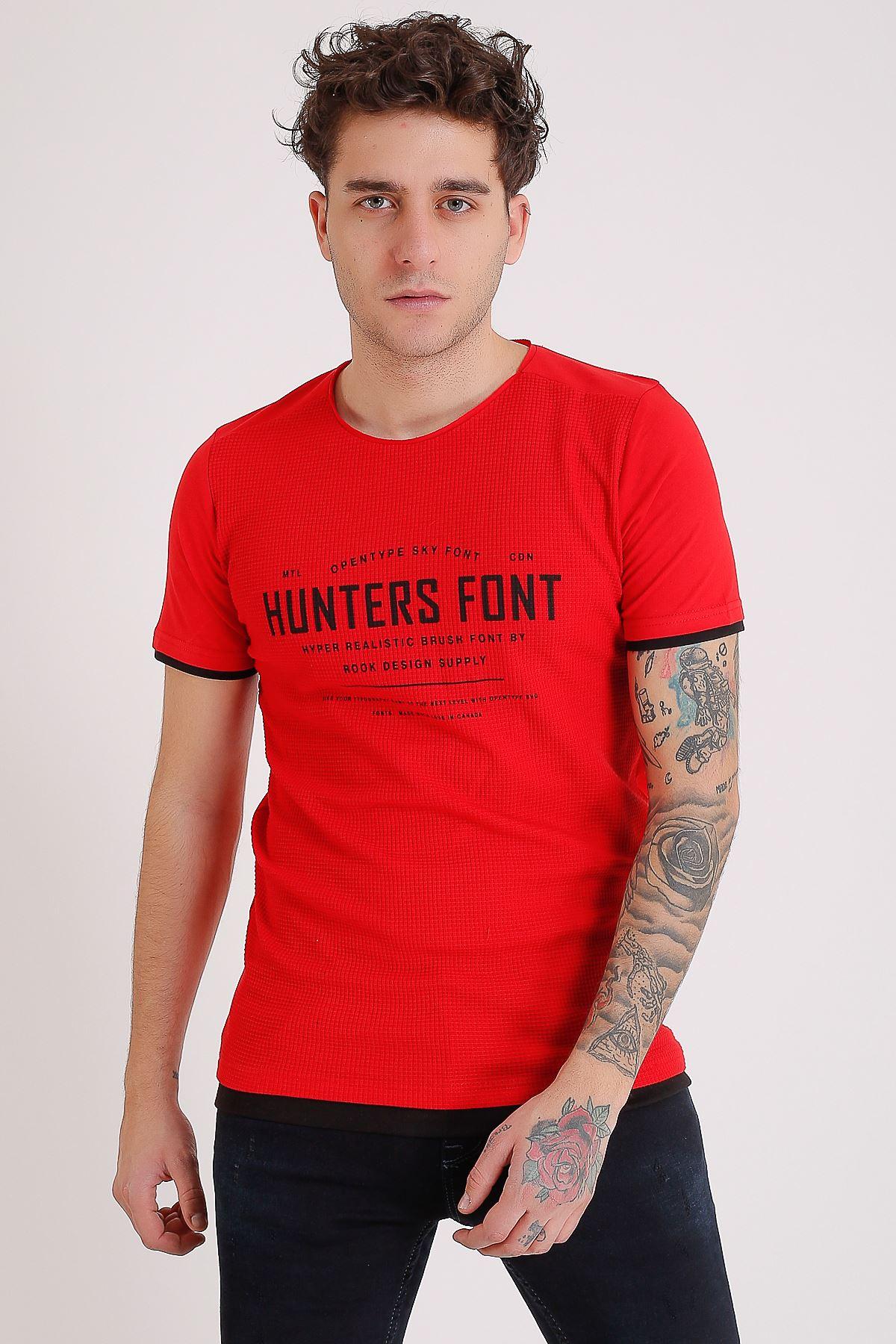 Bisiklet Yaka Baskılı Model Detay Kırmızı Erkek T-Shirt