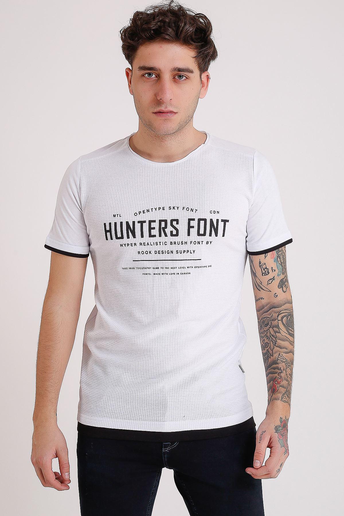 Bisiklet Yaka Baskılı Model Detay Beyaz Erkek T-Shirt
