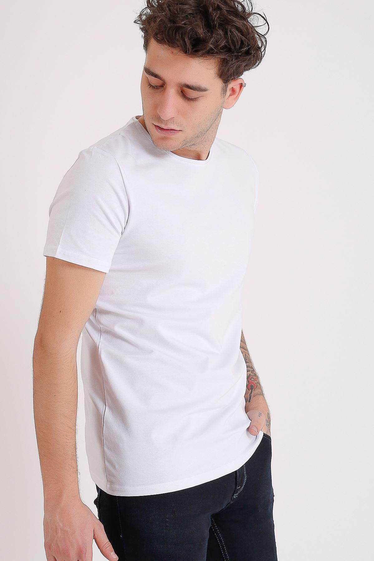 Bisiklet Yaka Basic Beyaz Erkek T-Shirt