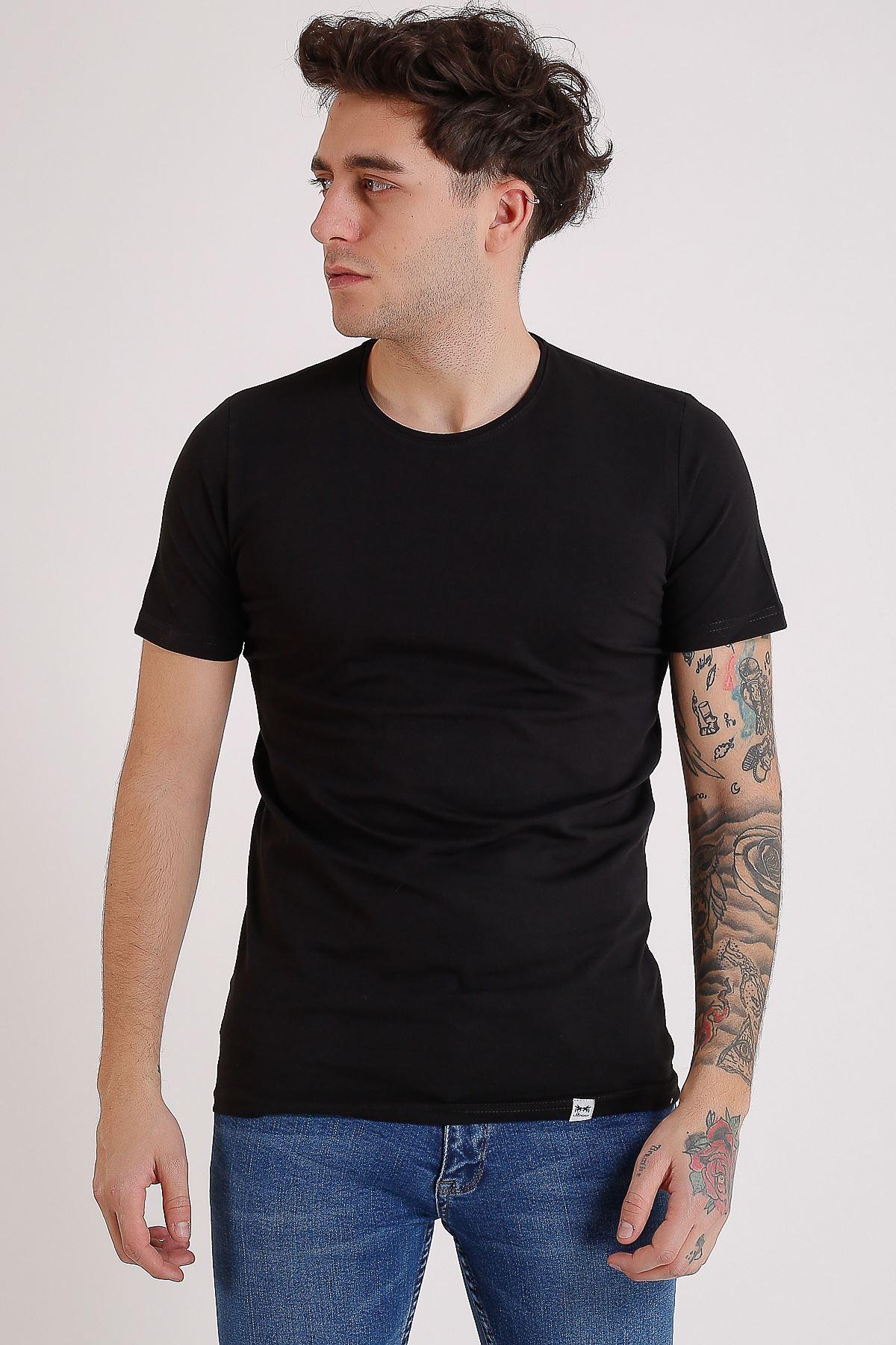 Bisiklet Yaka Basic Siyah Erkek T-Shirt
