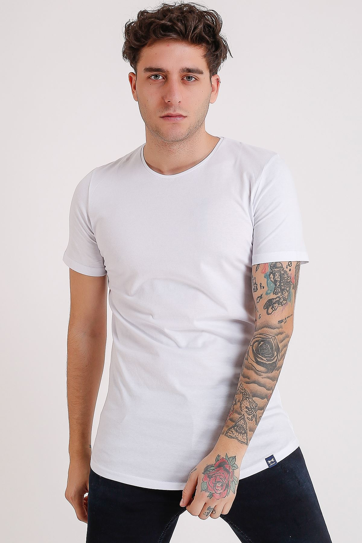 Bisiklet Yaka Basic Oval Kesim Beyaz Erkek T-Shirt