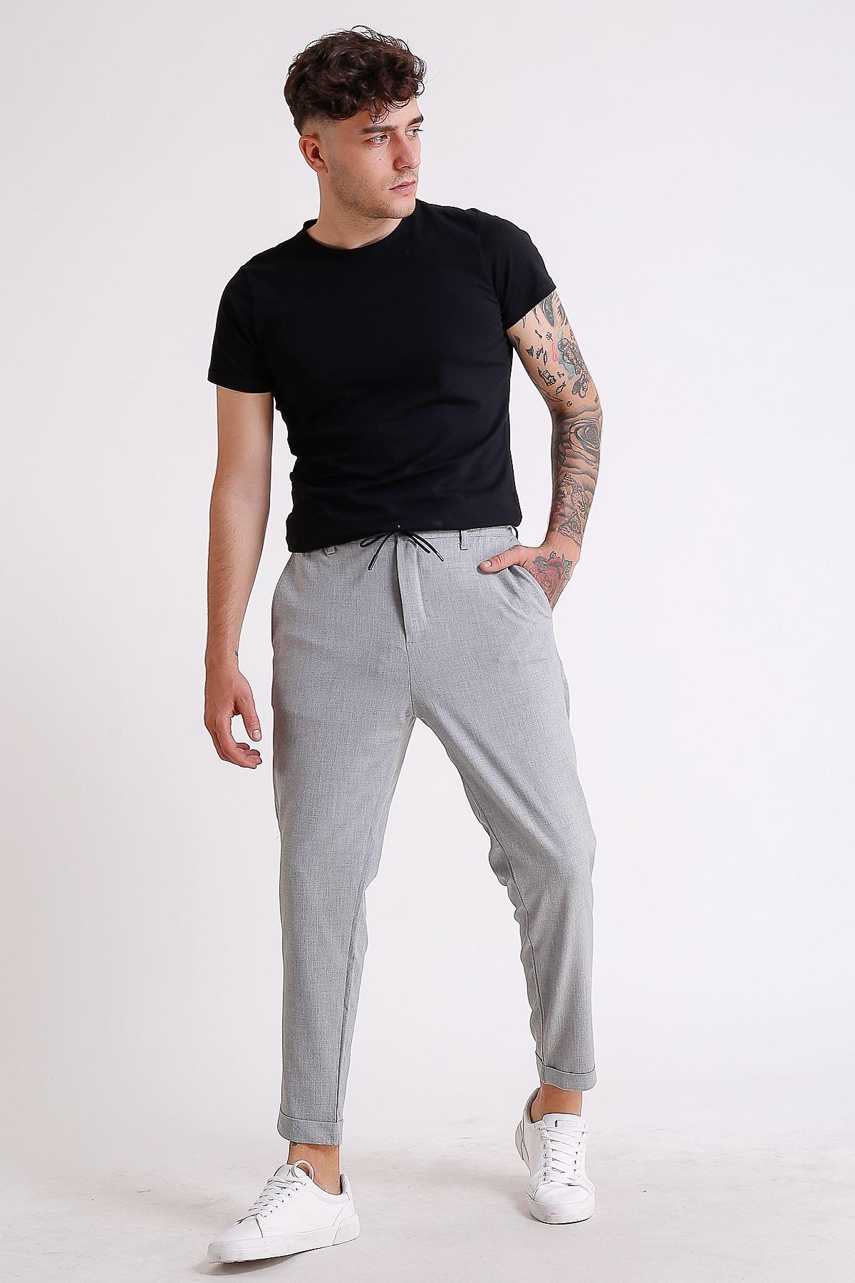 Erkek Beli Lastikli ve İpli Duble paçalı Gri Jogger Pantolon
