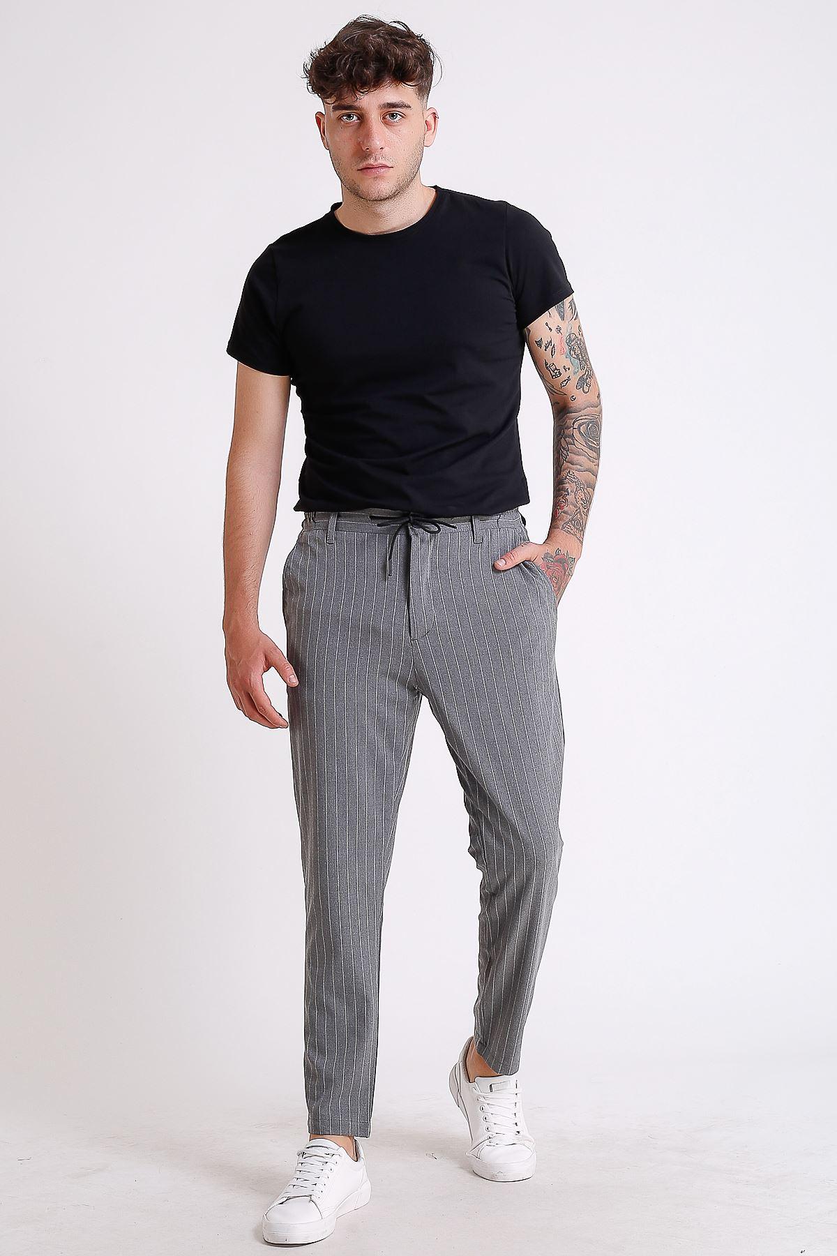Erkek Beli Lastikli ve İpli Koyu Gri Çizgili Jogger Pantolon