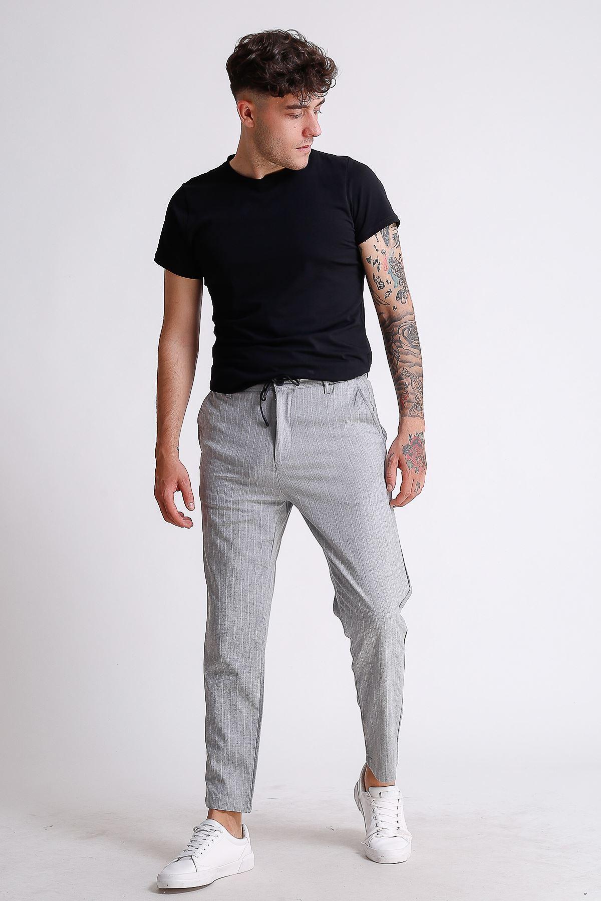 Erkek Beli Lastikli İpli Çizgili Gri Jogger Pantolon