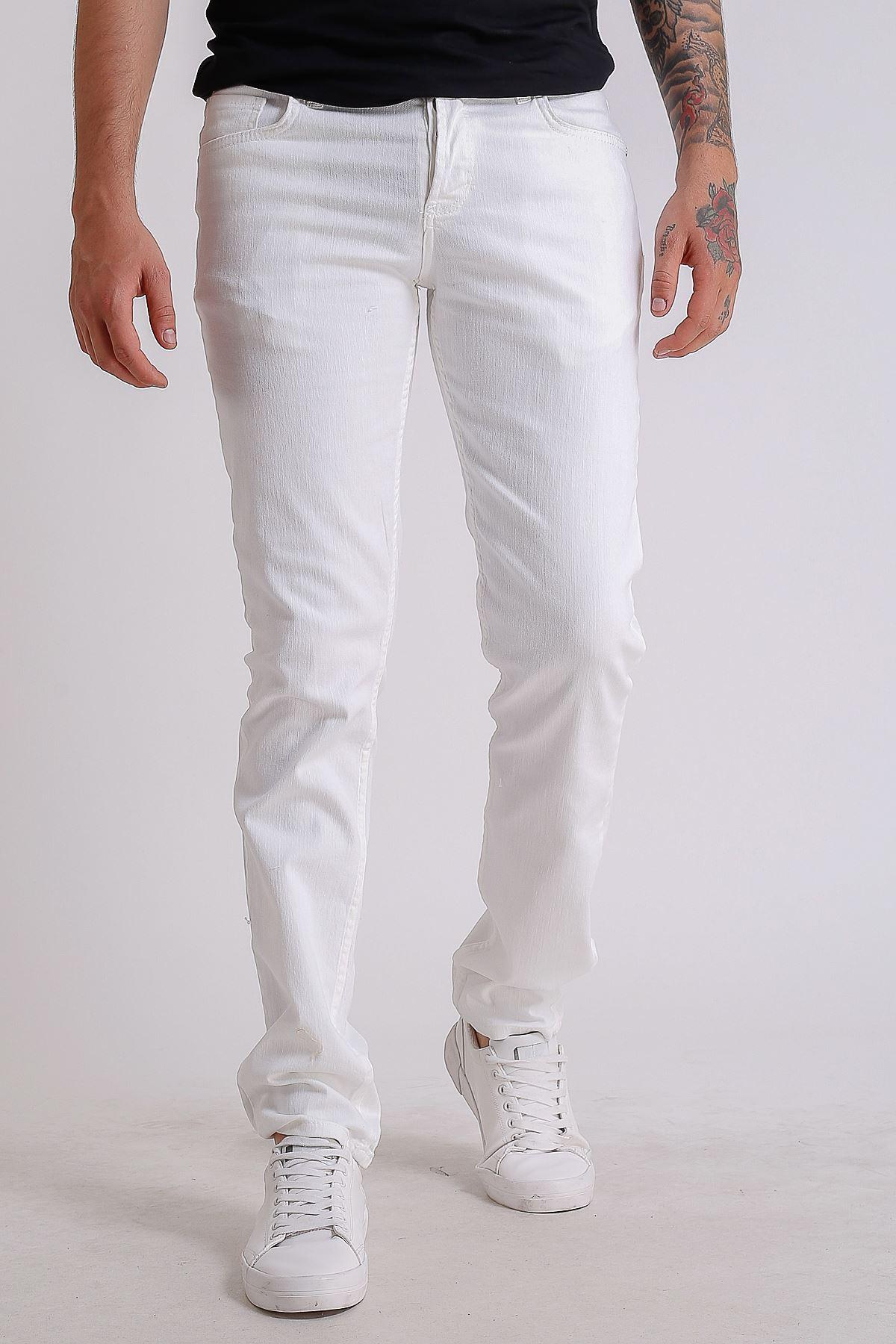 Beyaz Slimfit Erkek Kot Pantolon