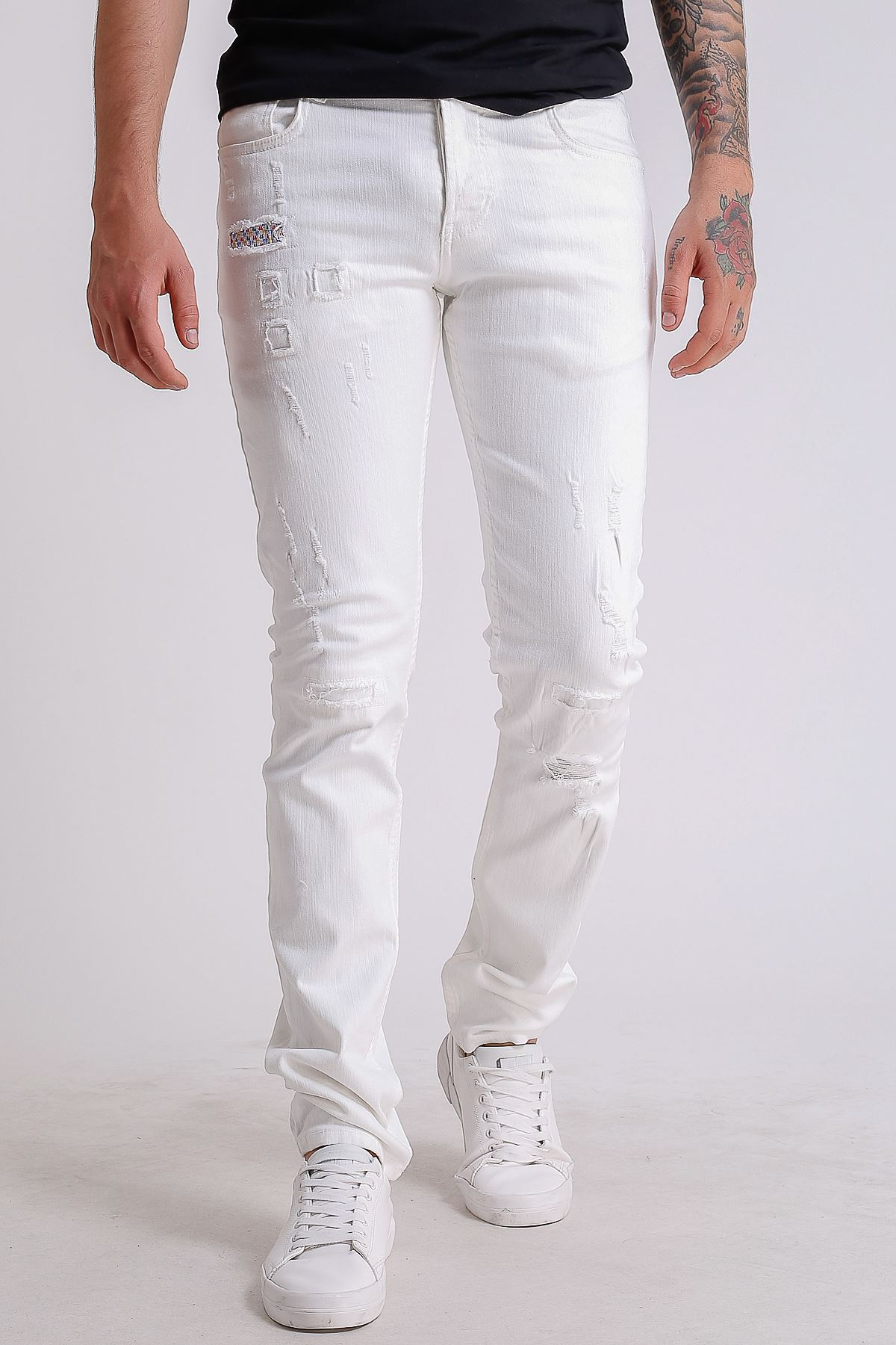 Beyaz destroy Slimfit Erkek Kot Pantolon