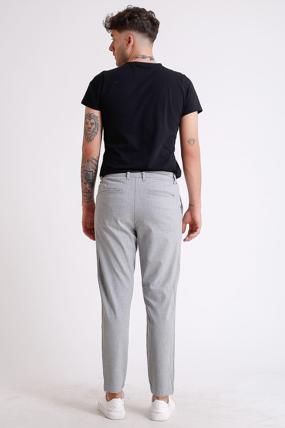 Erkek Beli Lastikli İpli açık Gri Jogger Pantolon