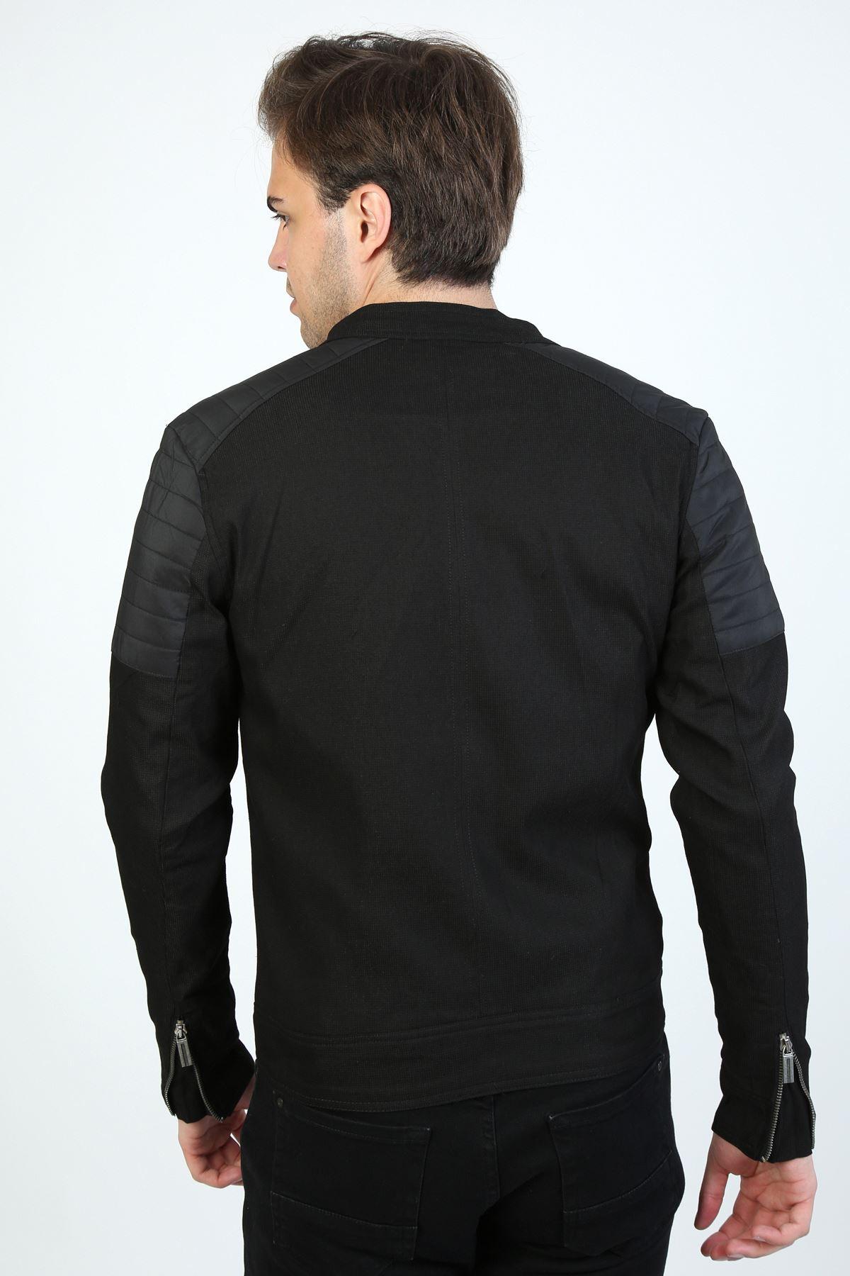 Mevsimlik Astarlı Kol Fermuar Spor Premium Erkek Siyah Ceket Mont