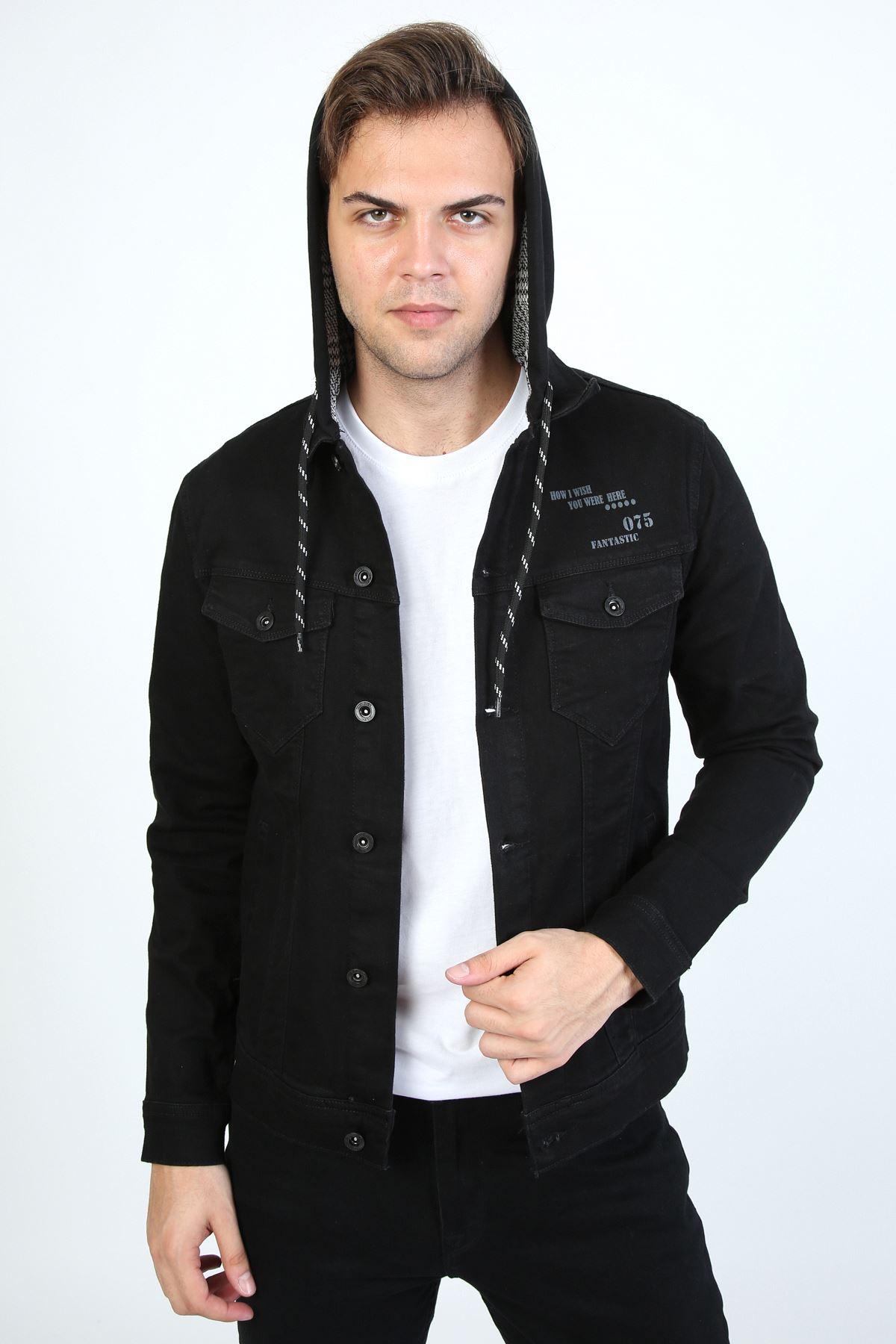 Erkek Baskı Detay Kapüşonlu Siyah Kot Ceket