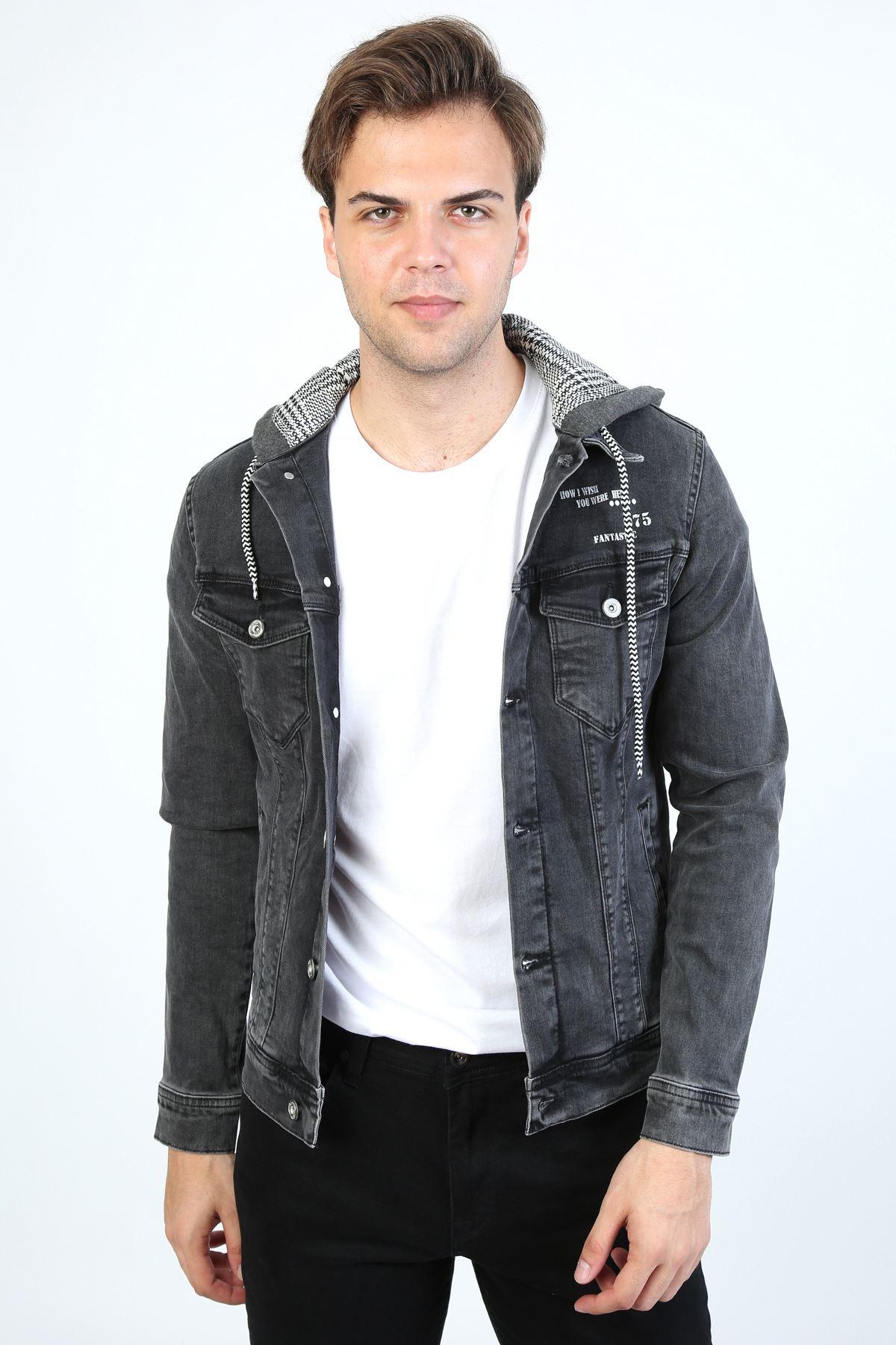 Erkek Baskı Detay Kapüşonlu Antrasit Kot Ceket