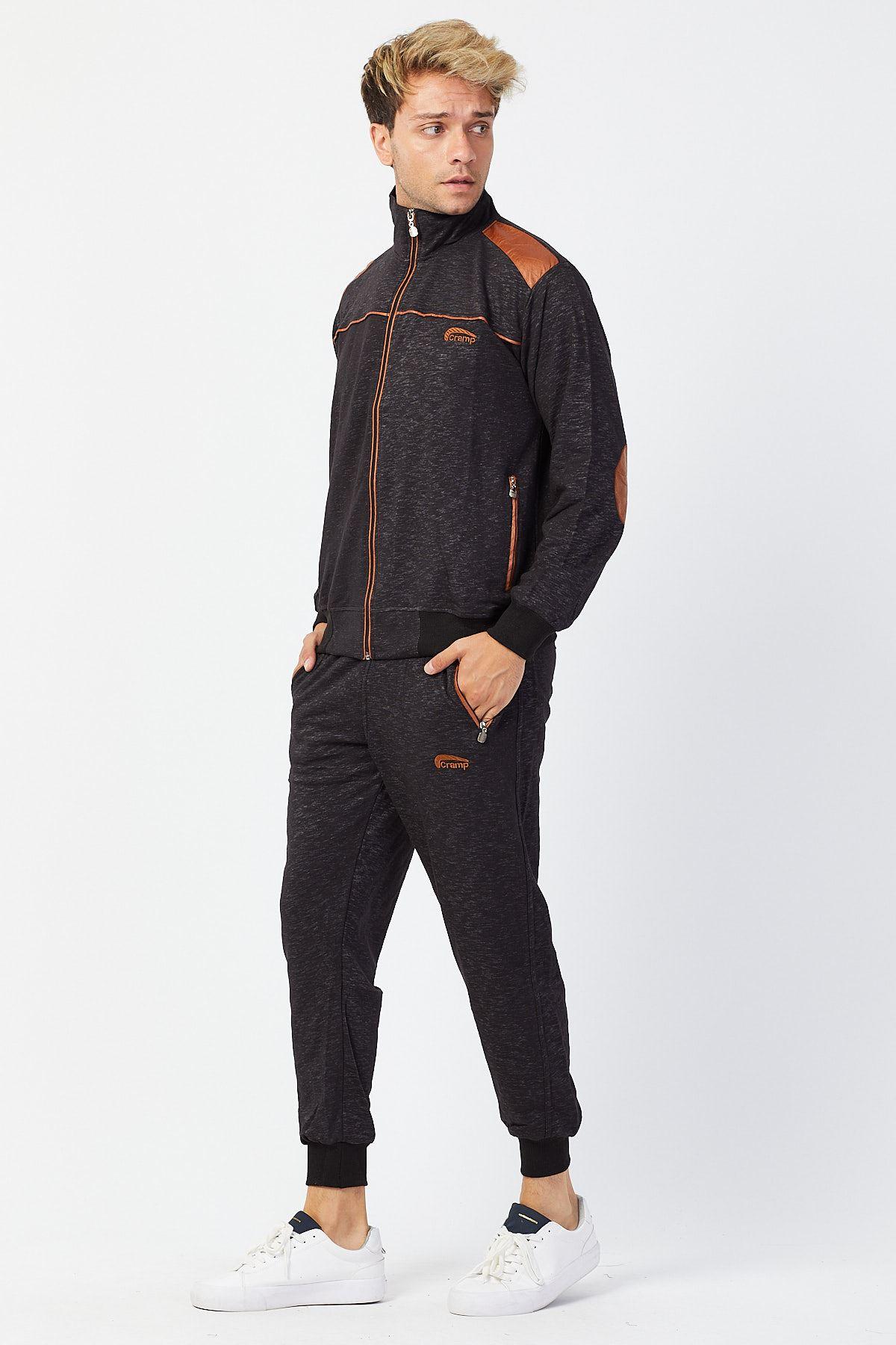 Koyu lacivert Erkek Beli Paçası Lastikli Detay Model Eşofman Takımı