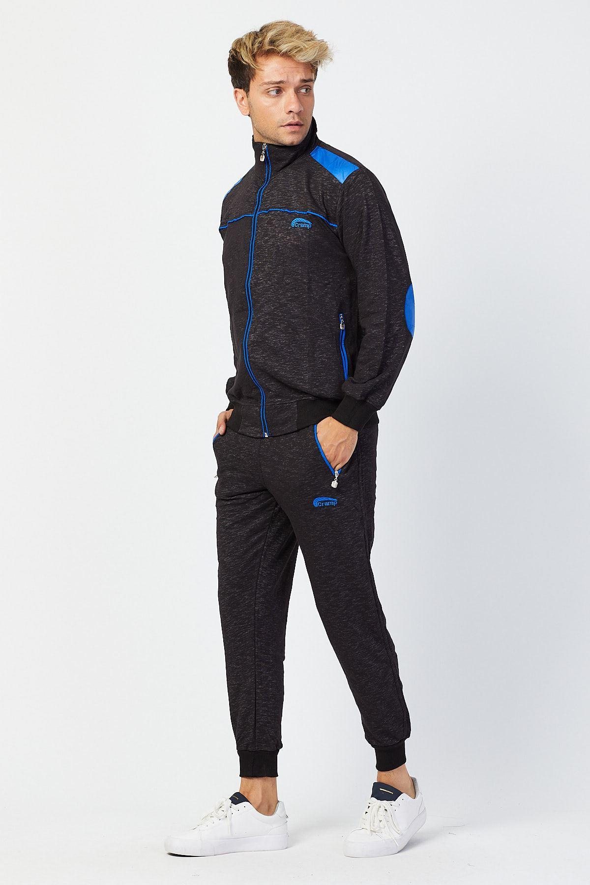 Siyah Erkek Beli Paçası Lastikli Detay Model Eşofman Takımı