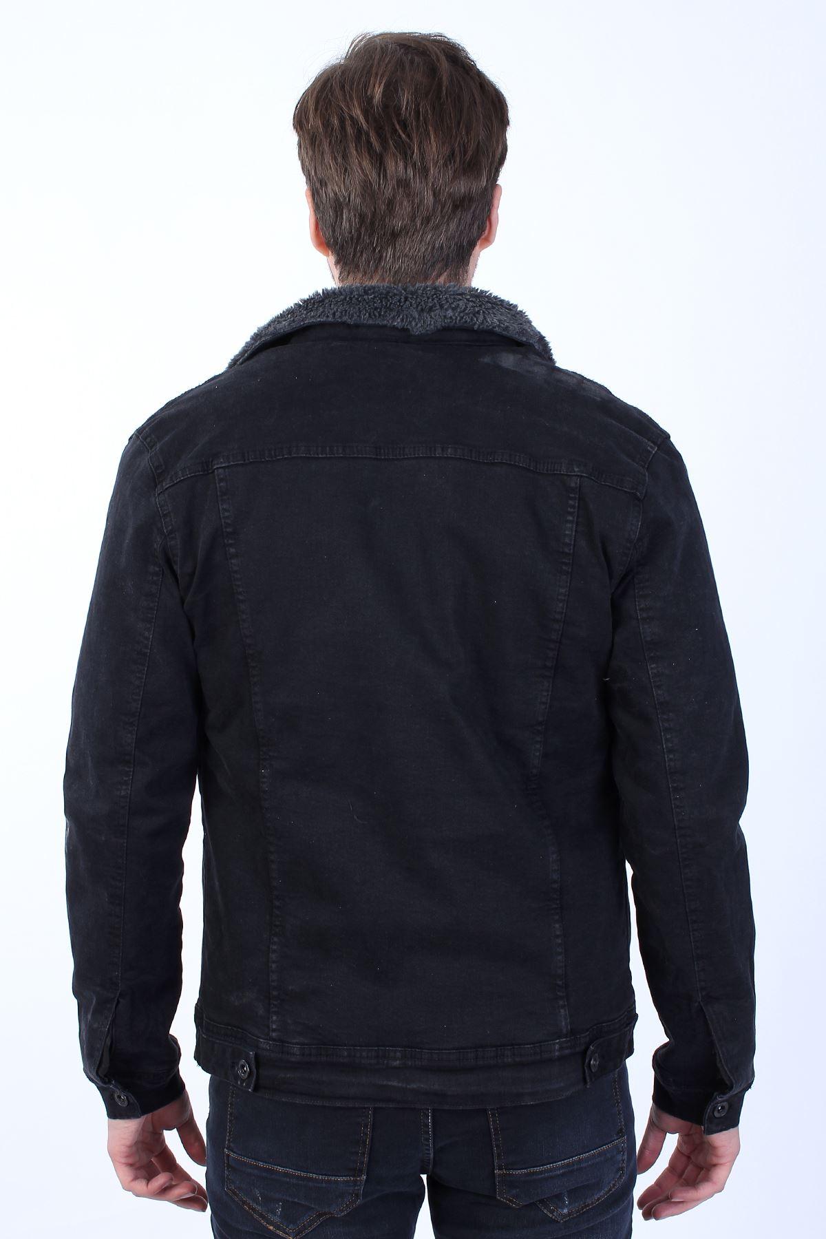 Erkek Antrasit Kürklü Siyah Kot Ceket