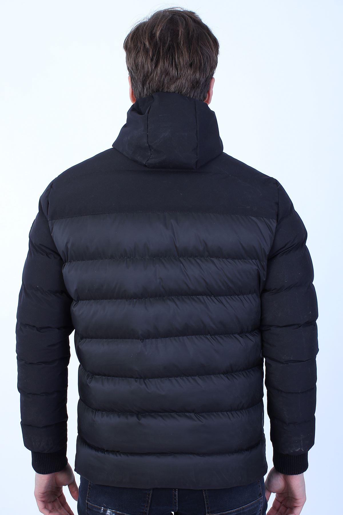 Erkek Siyah Soğuk Geçirmez Kapüşonlu Fermuarlı Şişme Mont