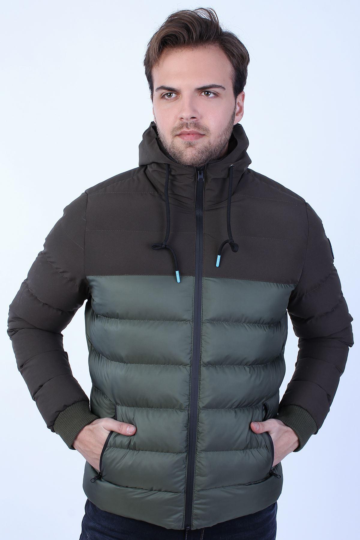Erkek Haki Soğuk Geçirmez Kapüşonlu Fermuarlı Şişme Mont