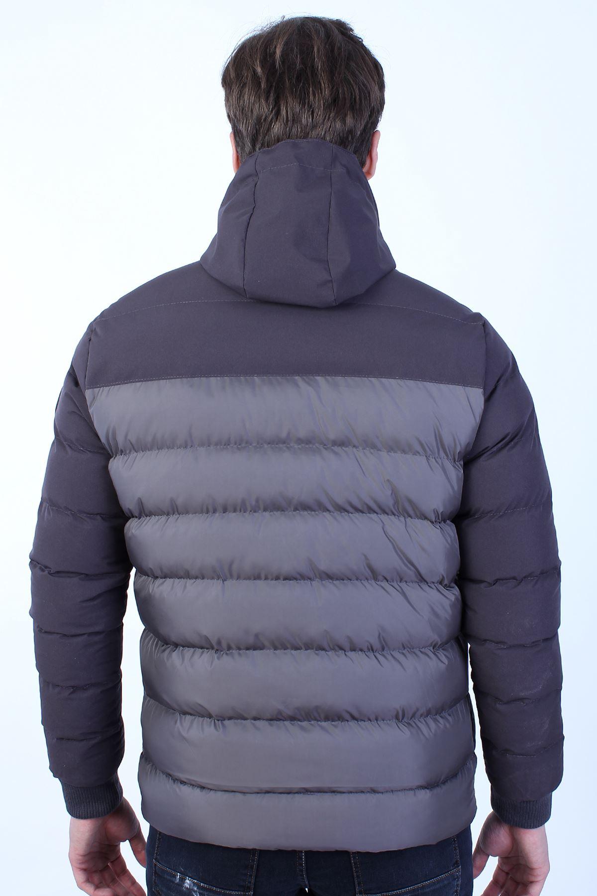 Erkek Antrasit Soğuk Geçirmez Kapüşonlu Fermuarlı Şişme Mont