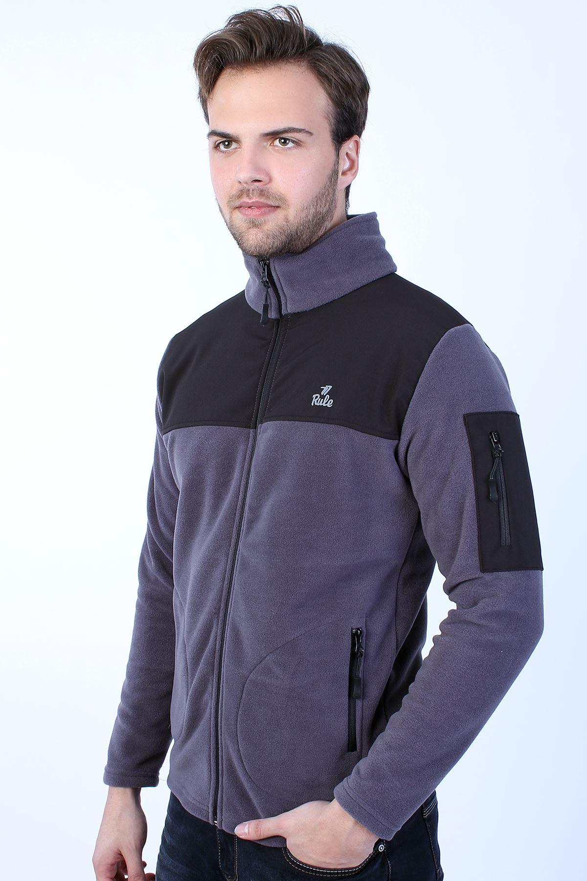 Erkek Antrasit Polar Dik Yaka Kol Cep Fermuar Detay Sweatshirt