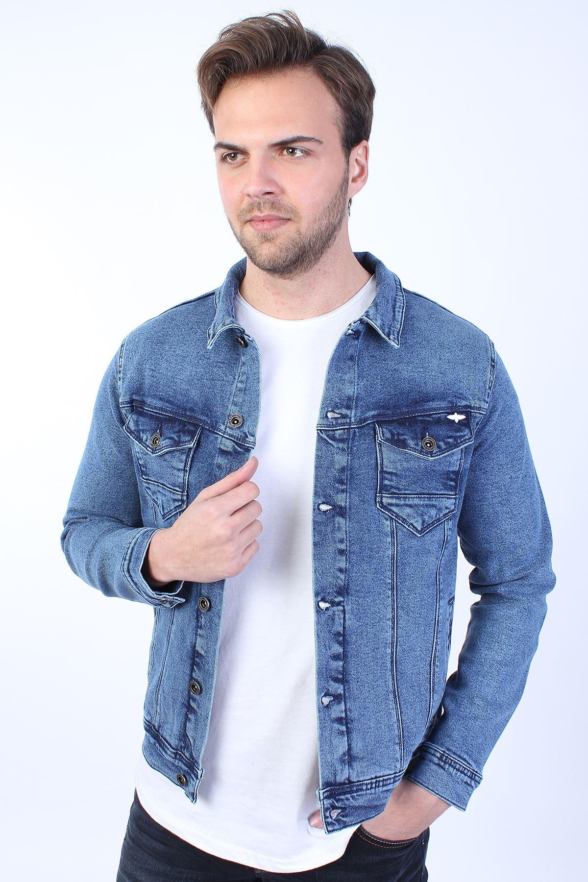 MICKEY Baskılı  Erkek Mavi Yıkamalı Kot Ceket