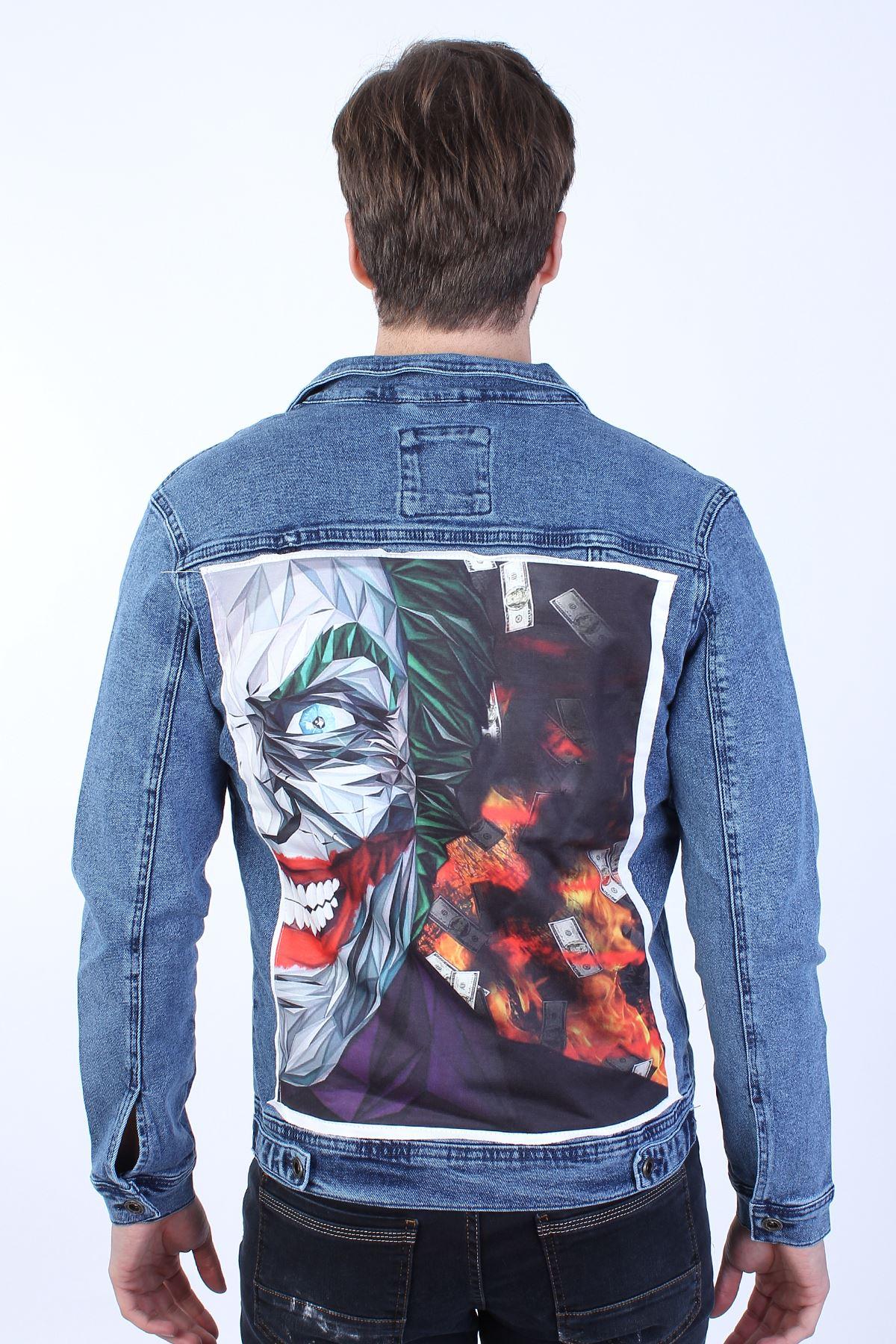 JOKER Baskılı  Erkek Mavi Yıkamalı Kot Ceket